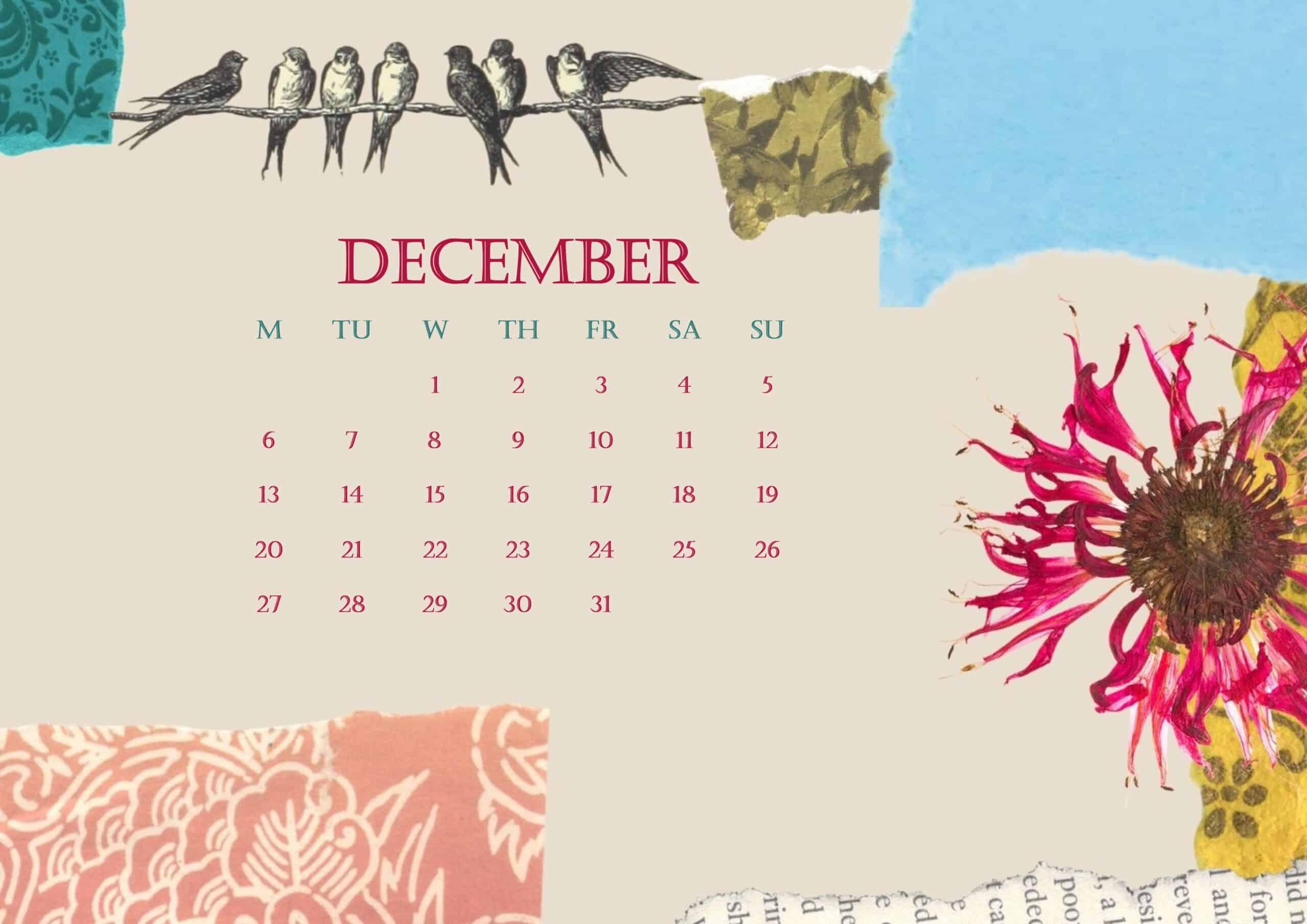 2021 December Calendar Beautiful Floral