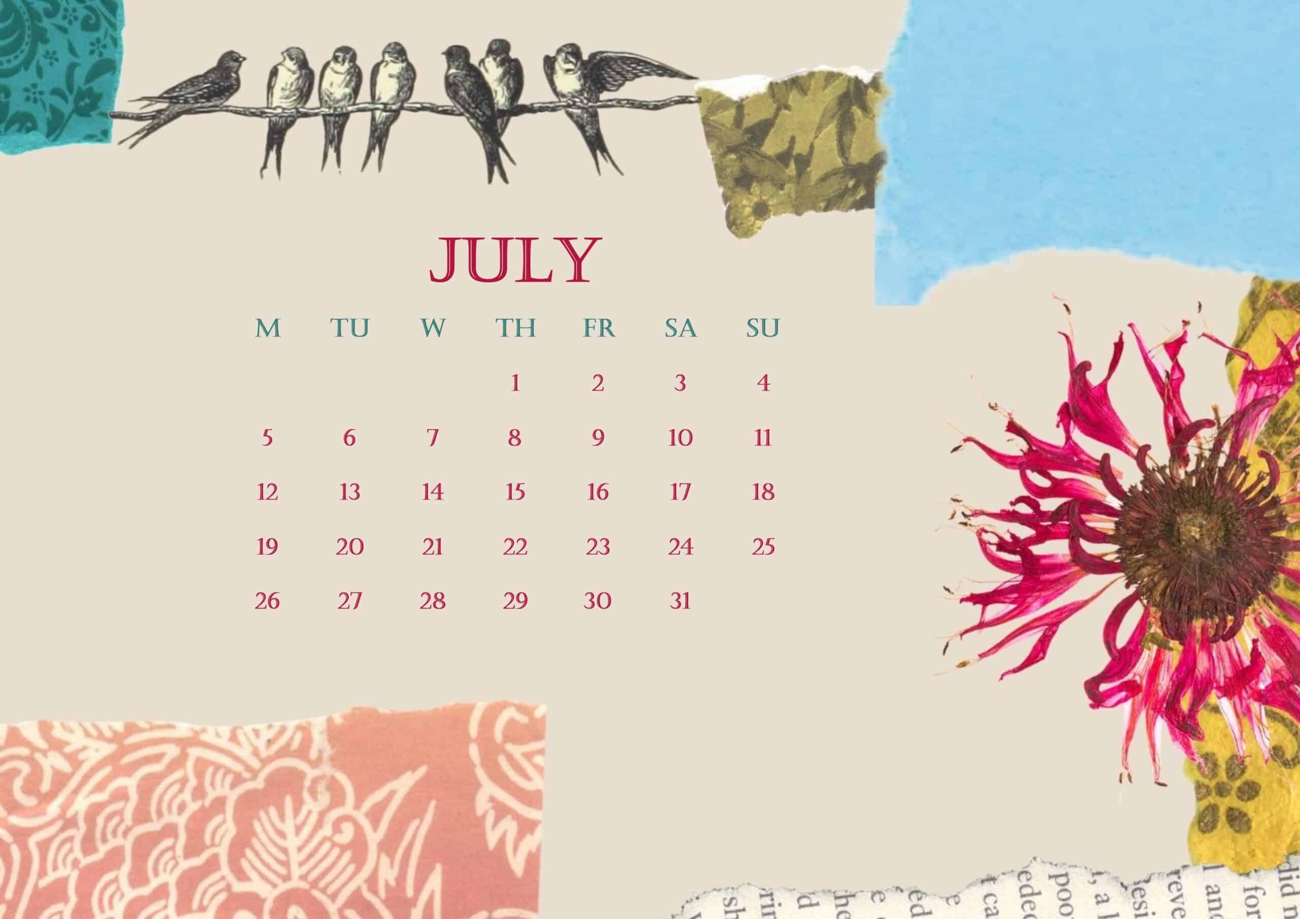2021 July Calendar Beautiful Floral