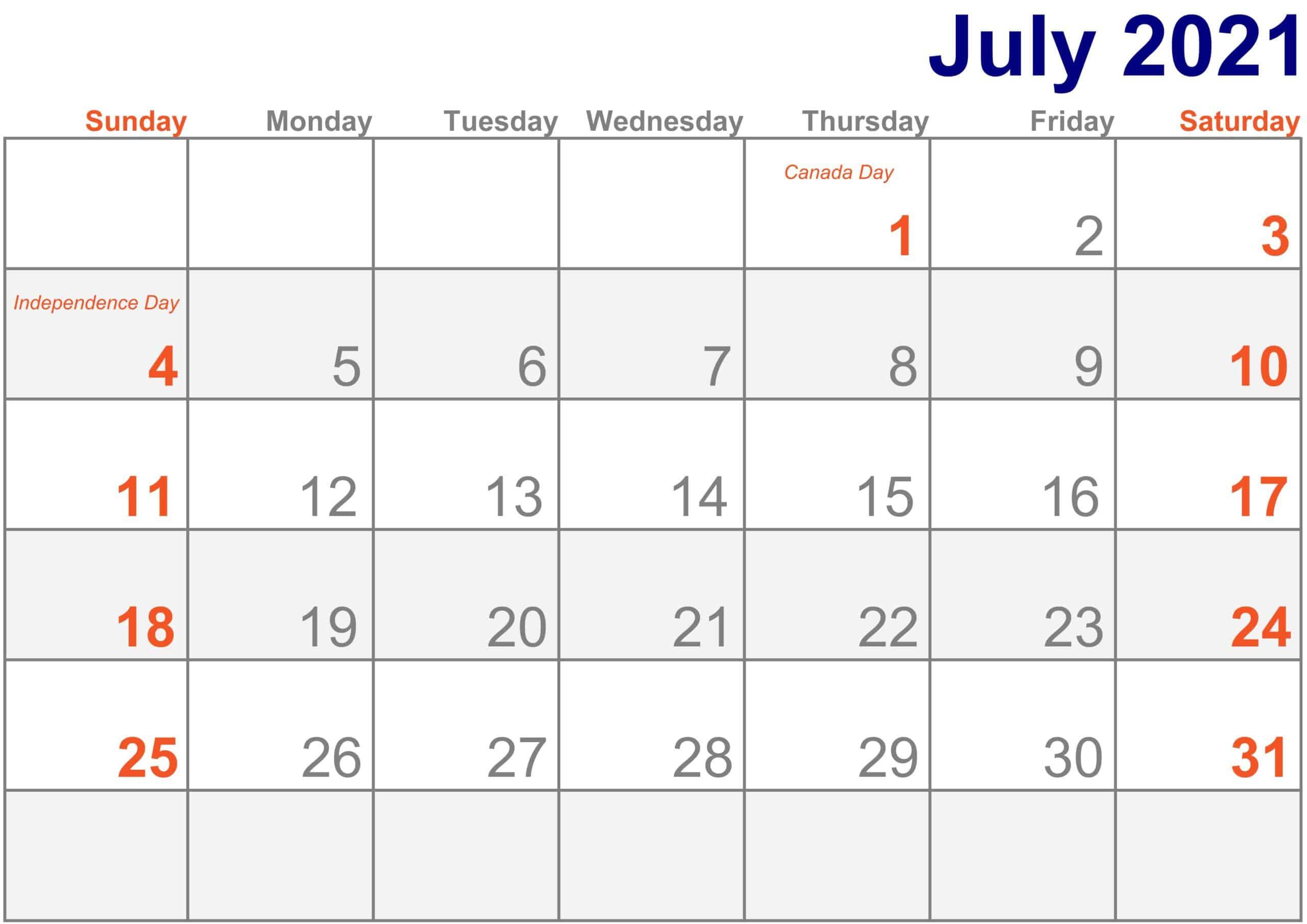 2021 July Calendar Excel