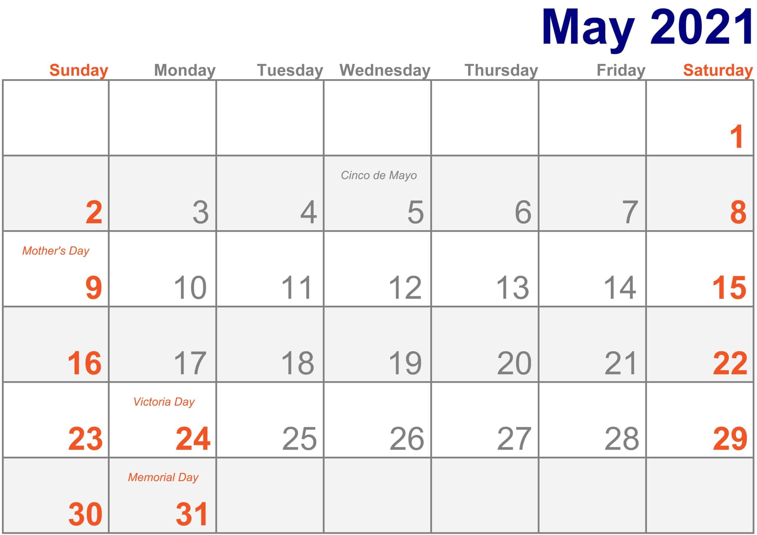 2021 May Calendar Excel