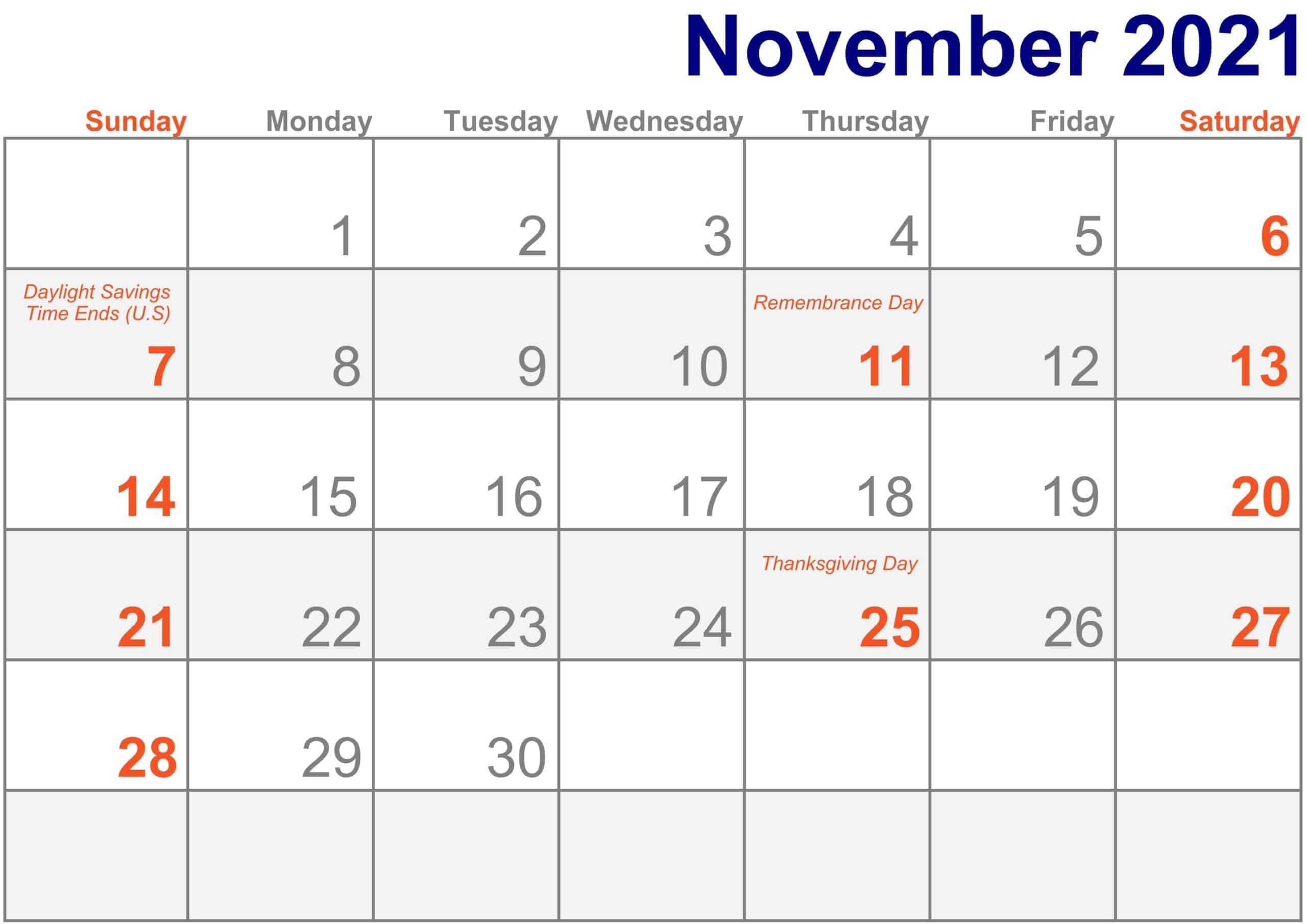 2021 November Calendar Excel