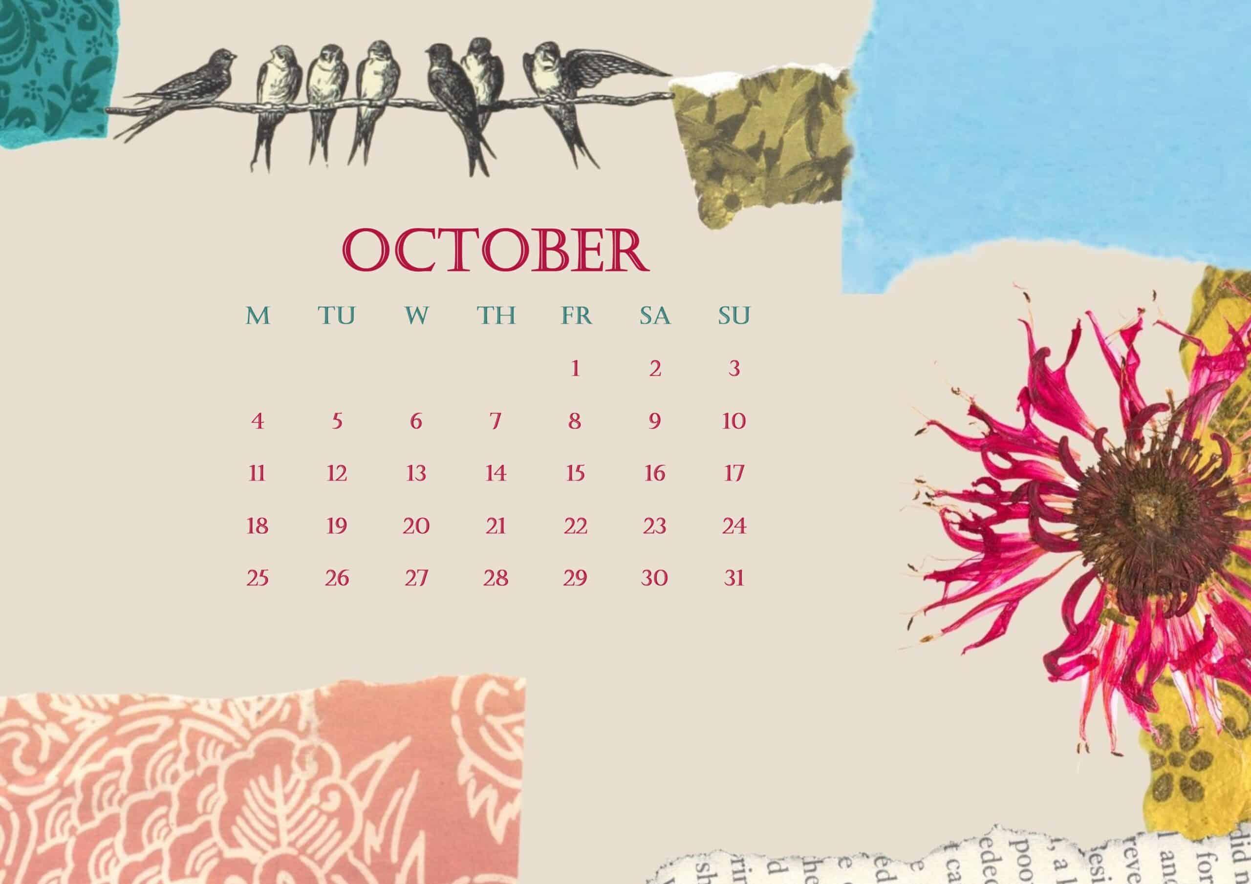 2021 October Calendar Beautiful Floral