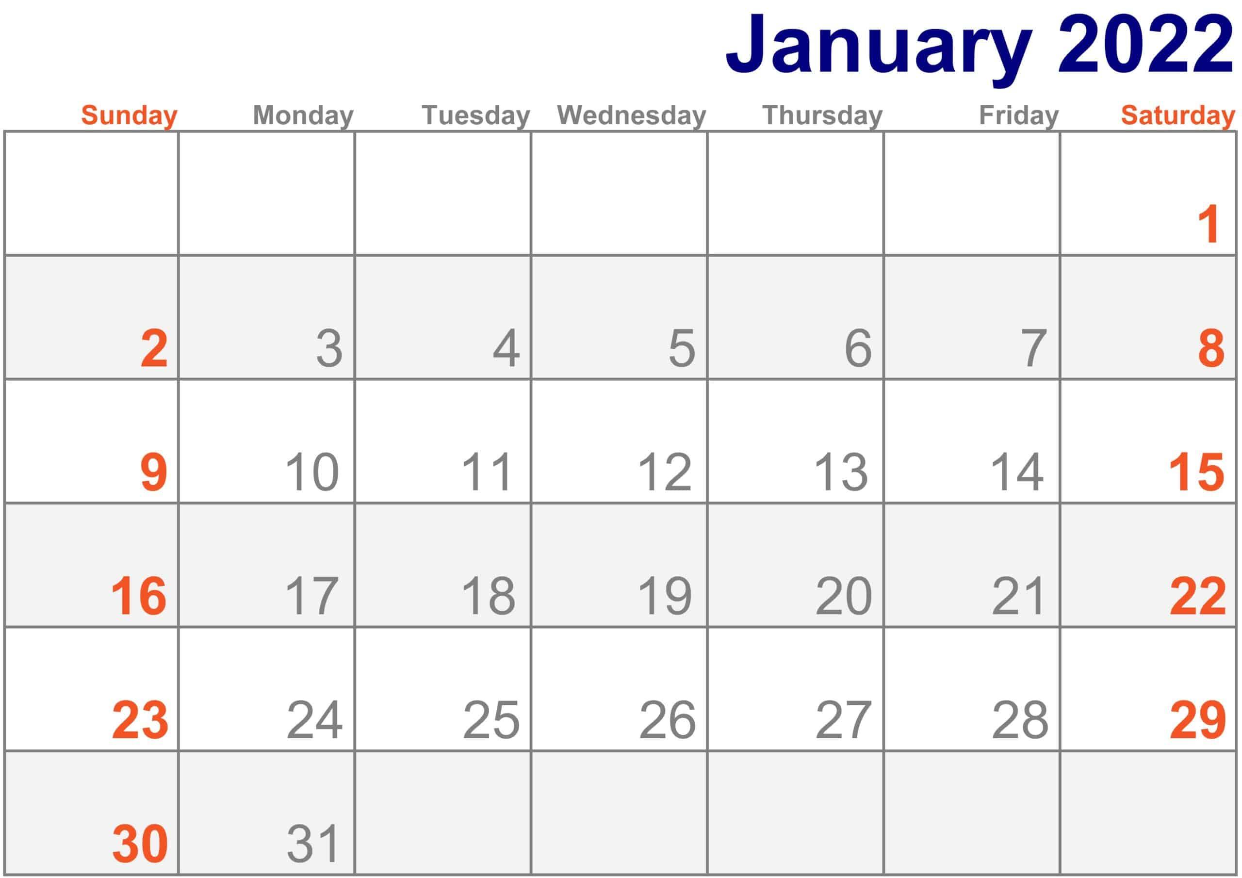2022 January Calendar Excel