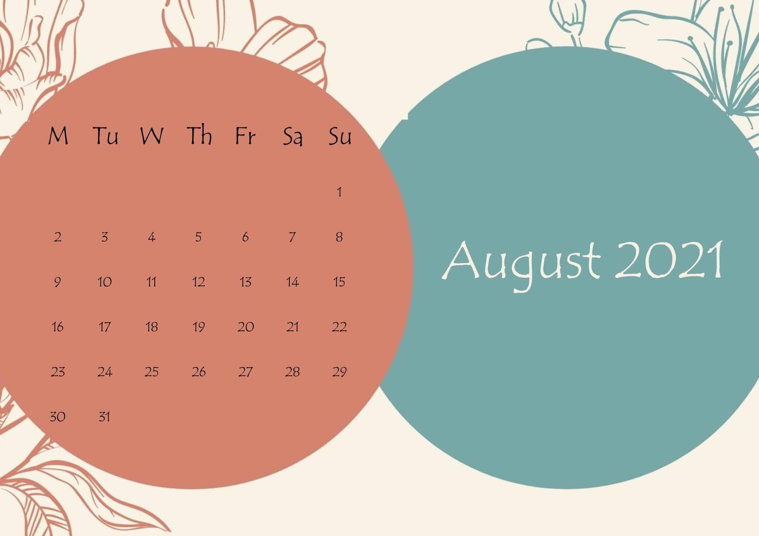 August 2021 Beautiful Floral Calendar