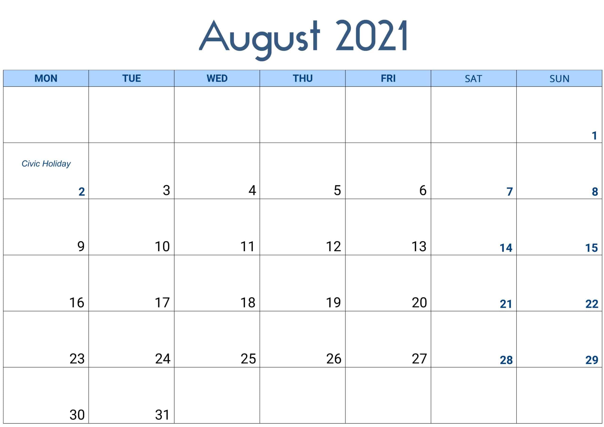 August 2021 Calendar Excel