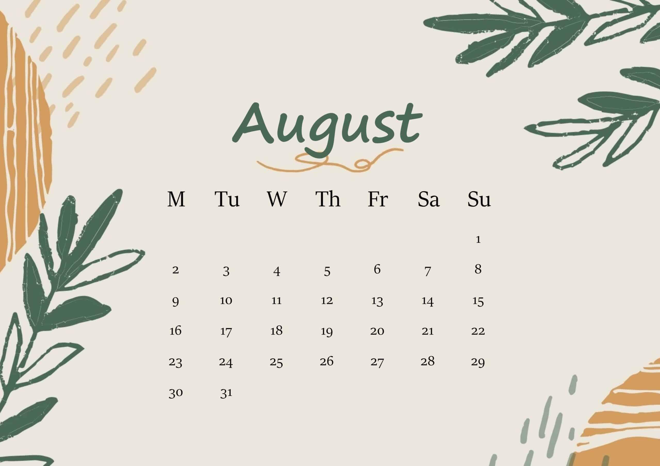 August 2021 Calendar Floral