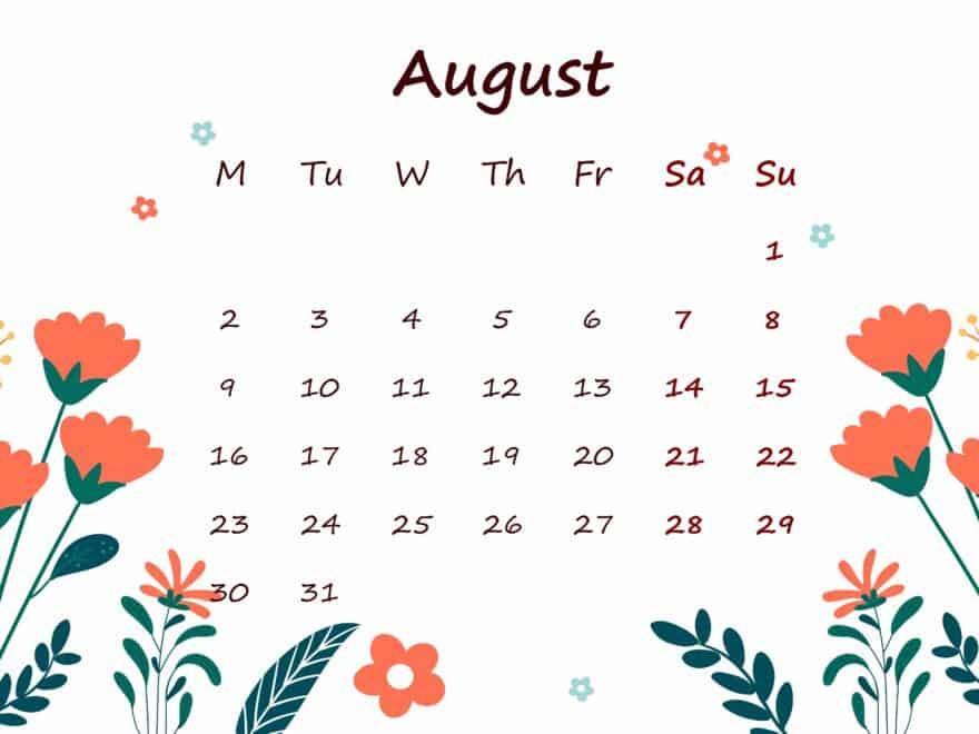 August 2021 Calendar Printable For Kids