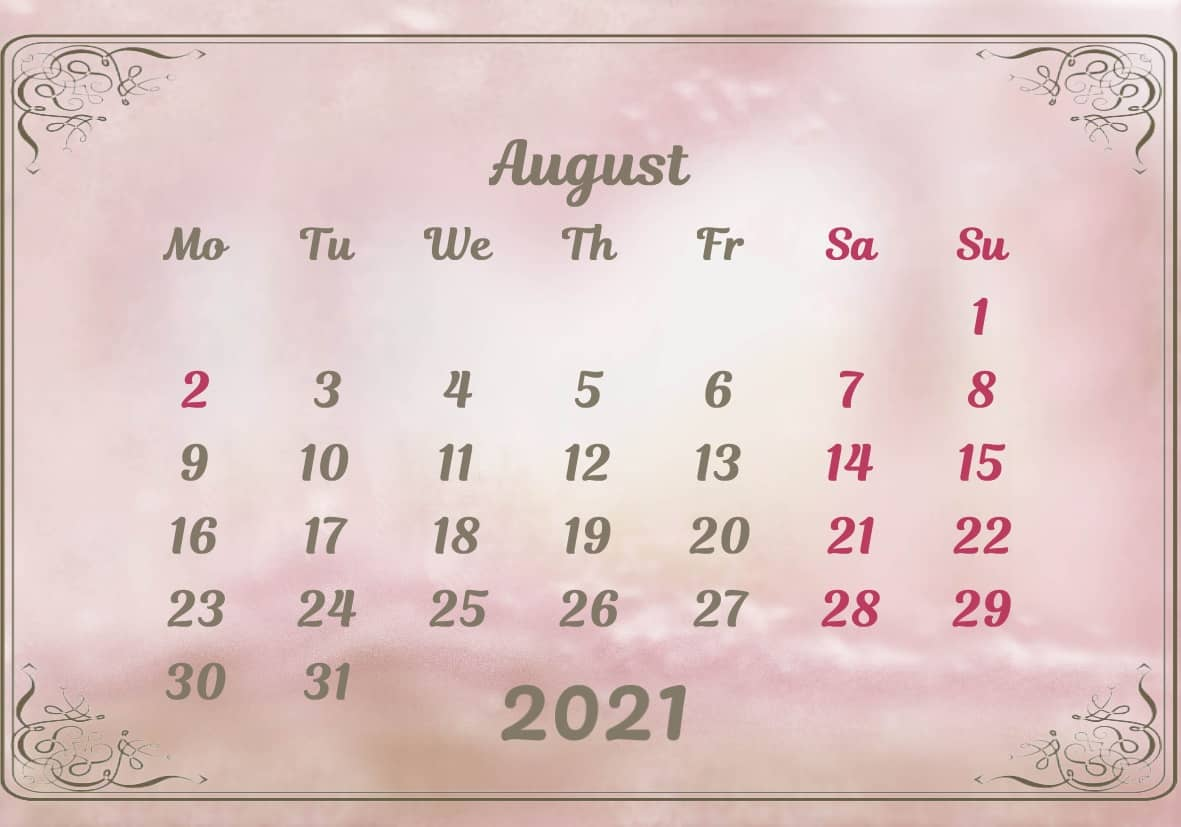 August Calendar 2021 Excel downlaod