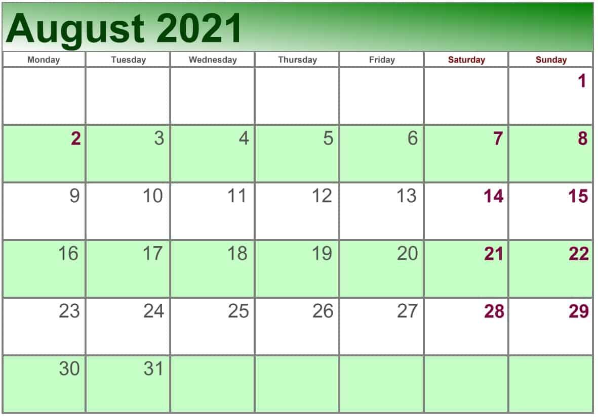 August Calendar 2021 Excel print