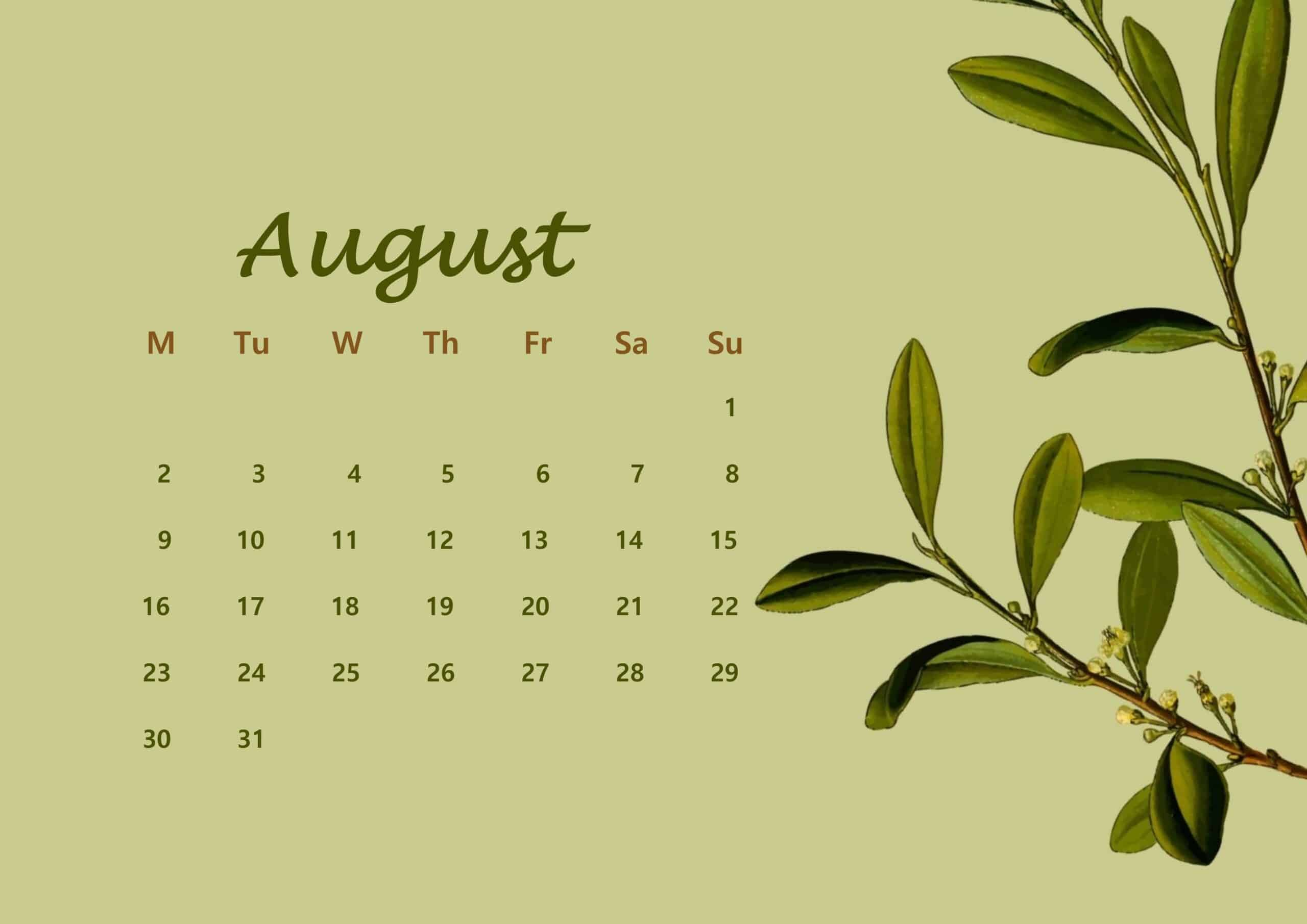 August Calendar 2021 Floral