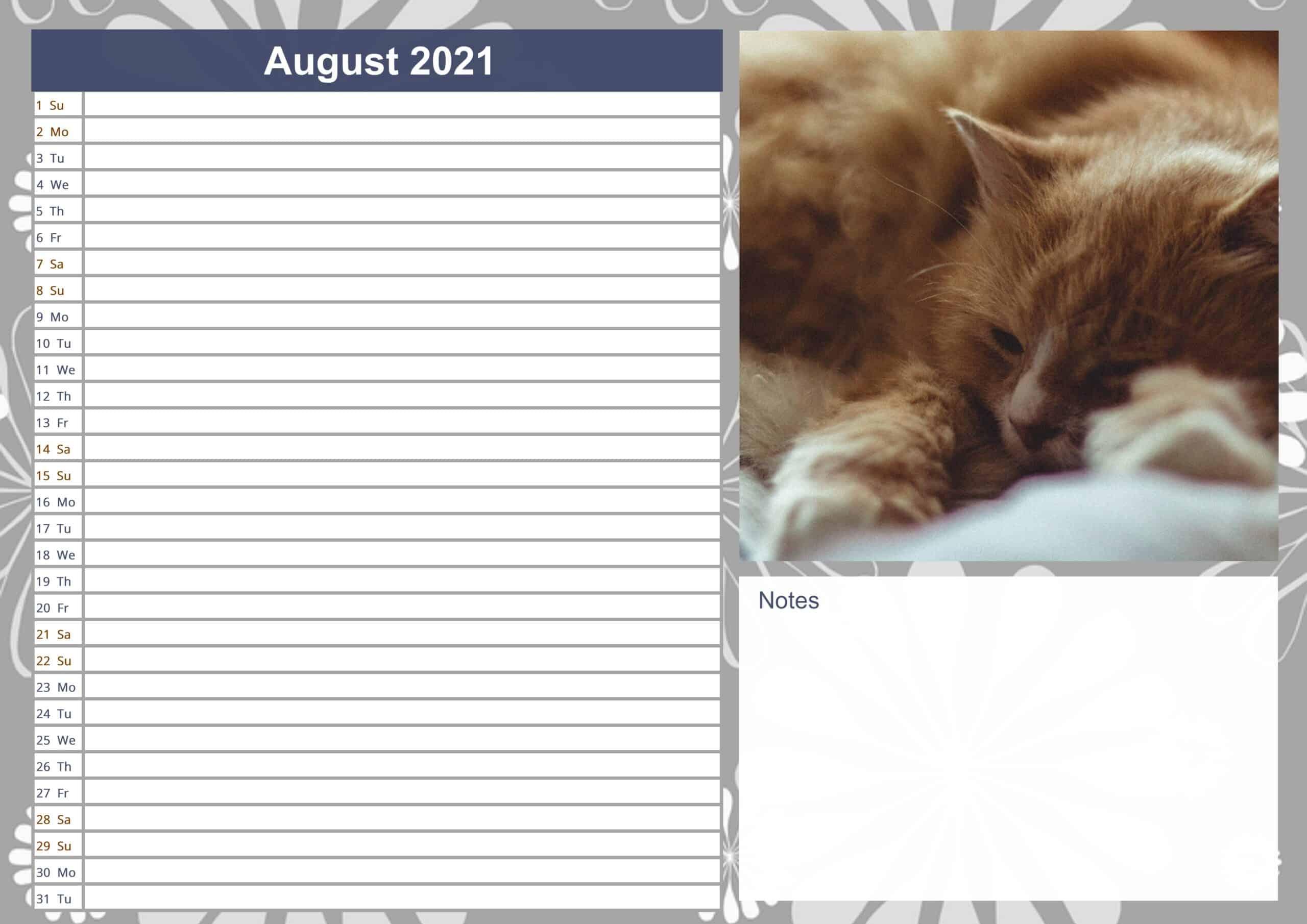 August Printable 2021 Calendar free