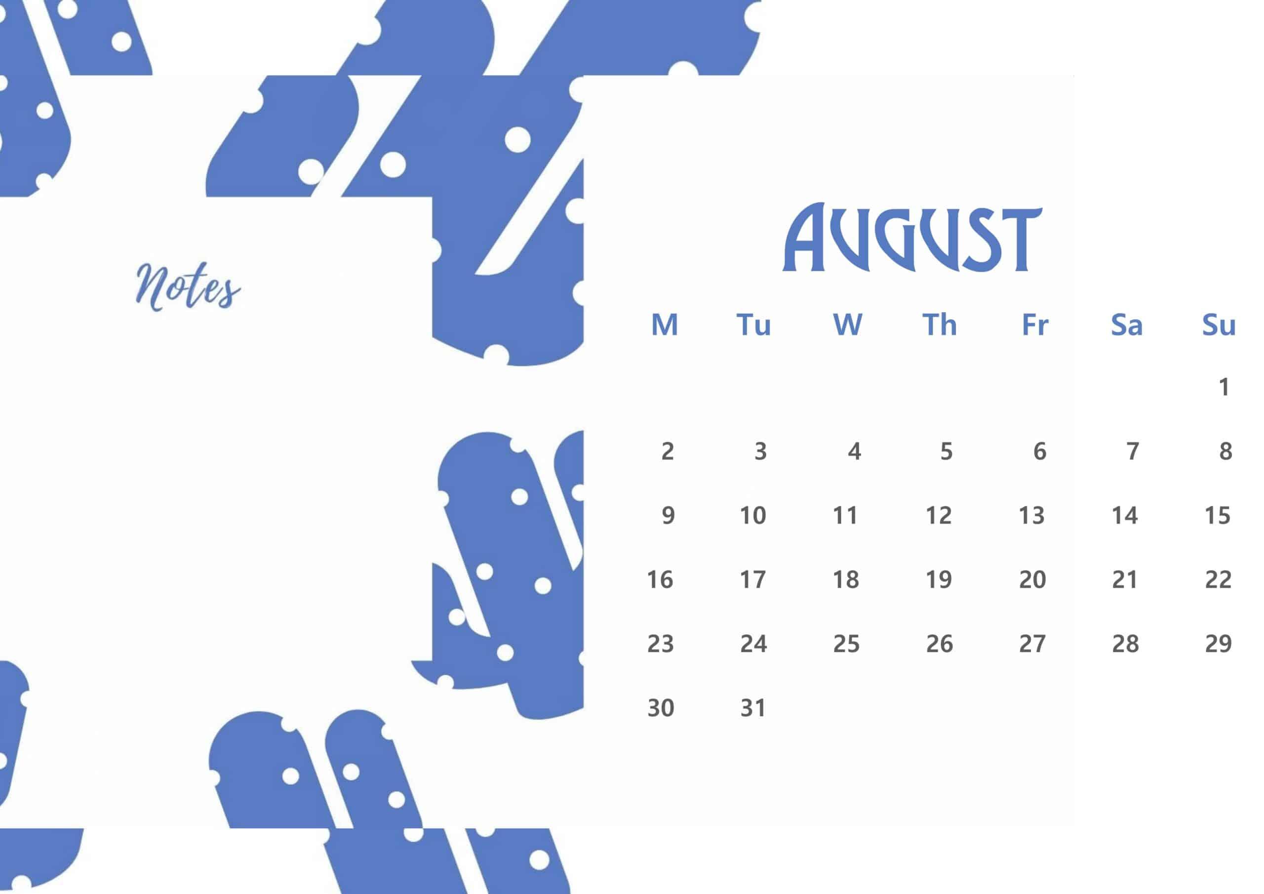 Beautiful August 2021 Floral Calendar
