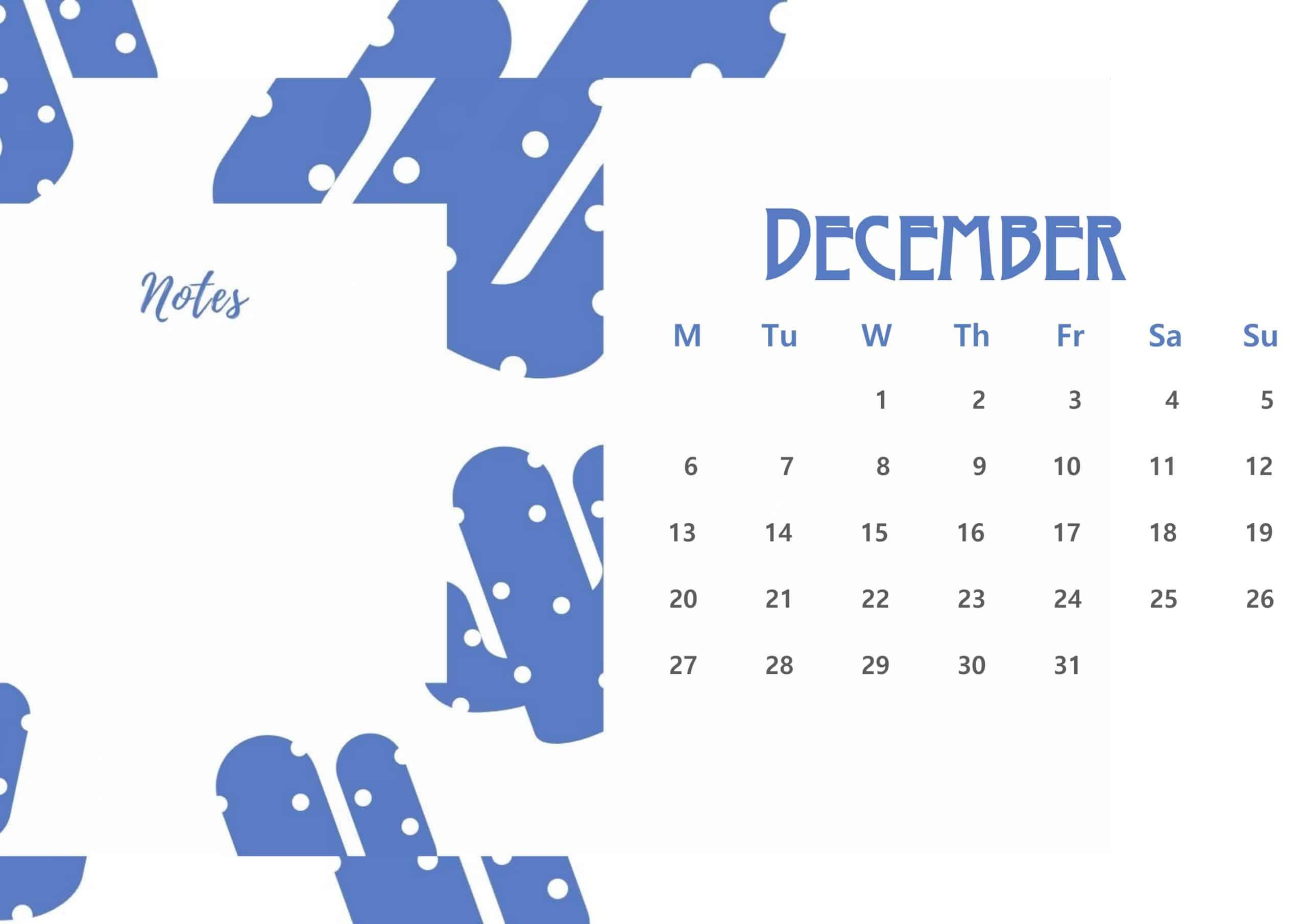 Beautiful December 2021 Floral Calendar