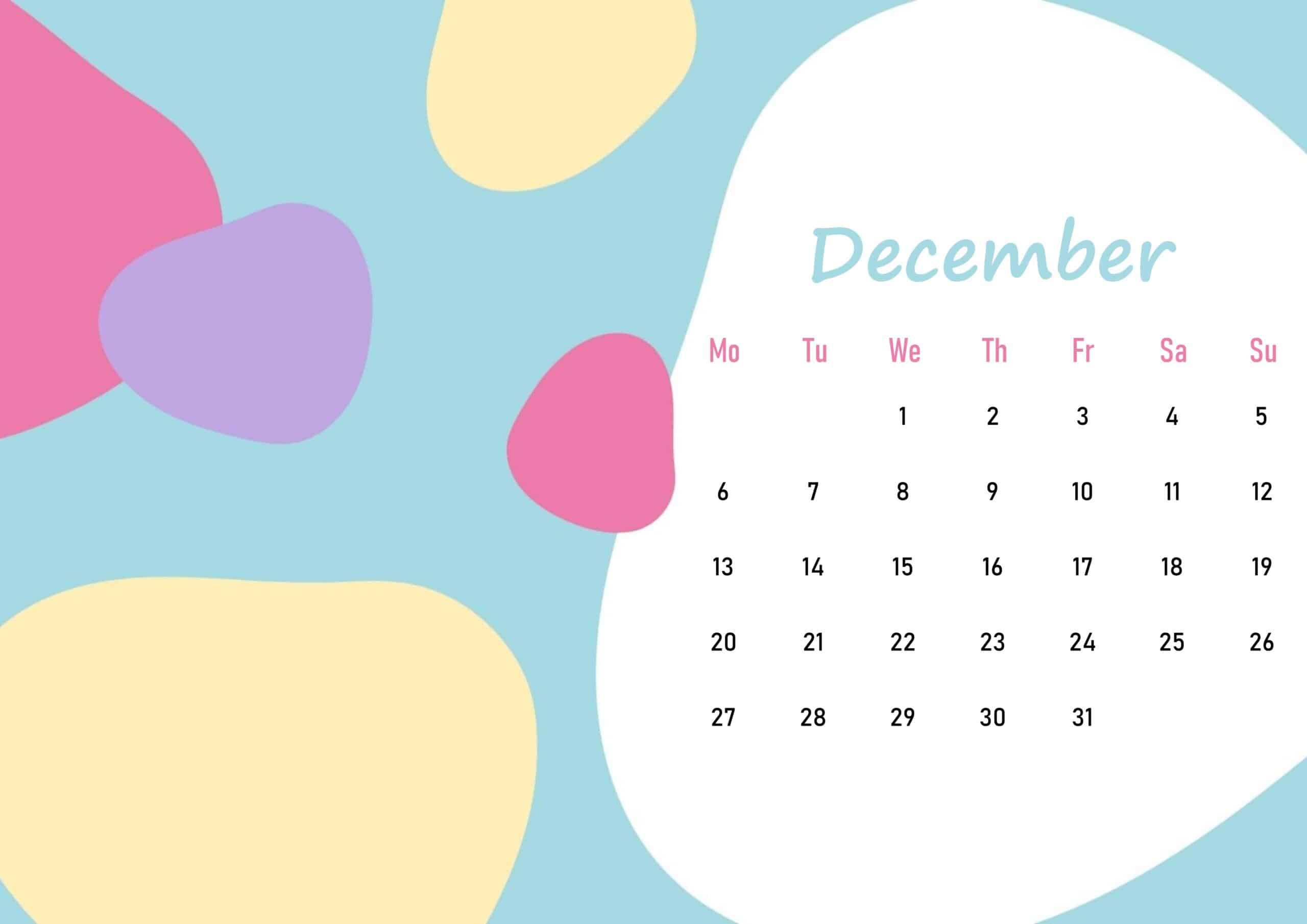 Beautiful Floral December 2021 Calendar