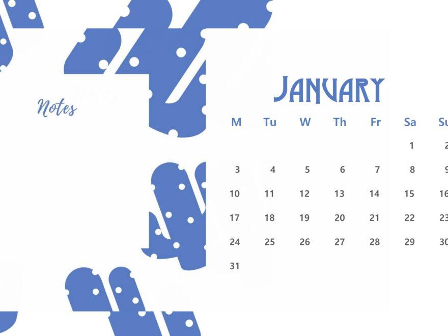 Beautiful January 2022 Floral Calendar