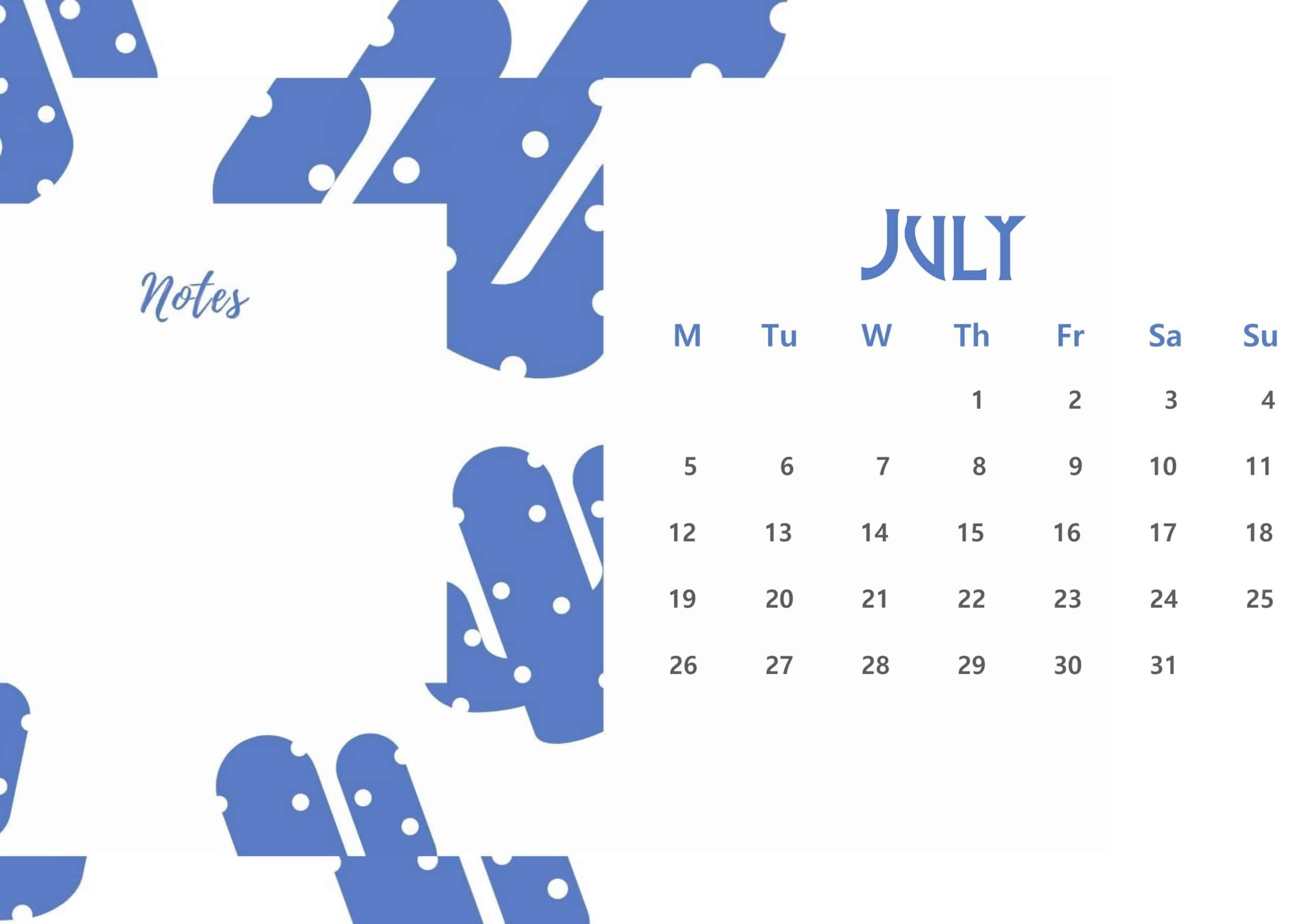 Beautiful July 2021 Floral Calendar