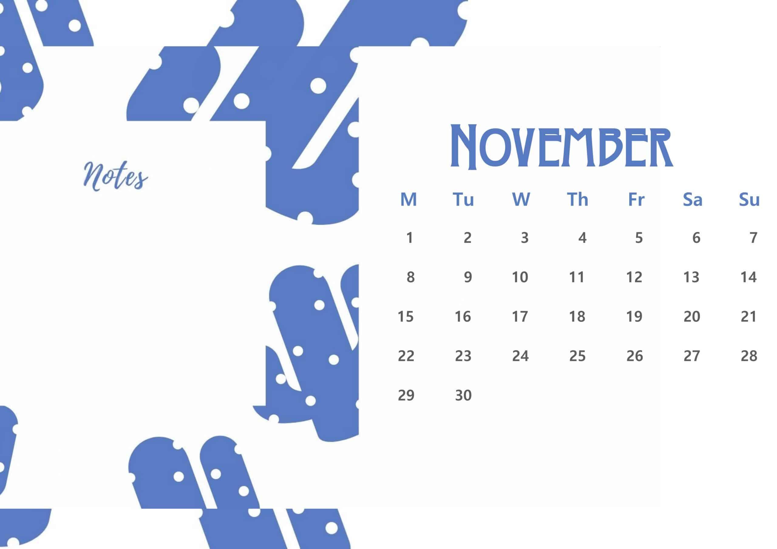 Beautiful November 2021 Floral Calendar