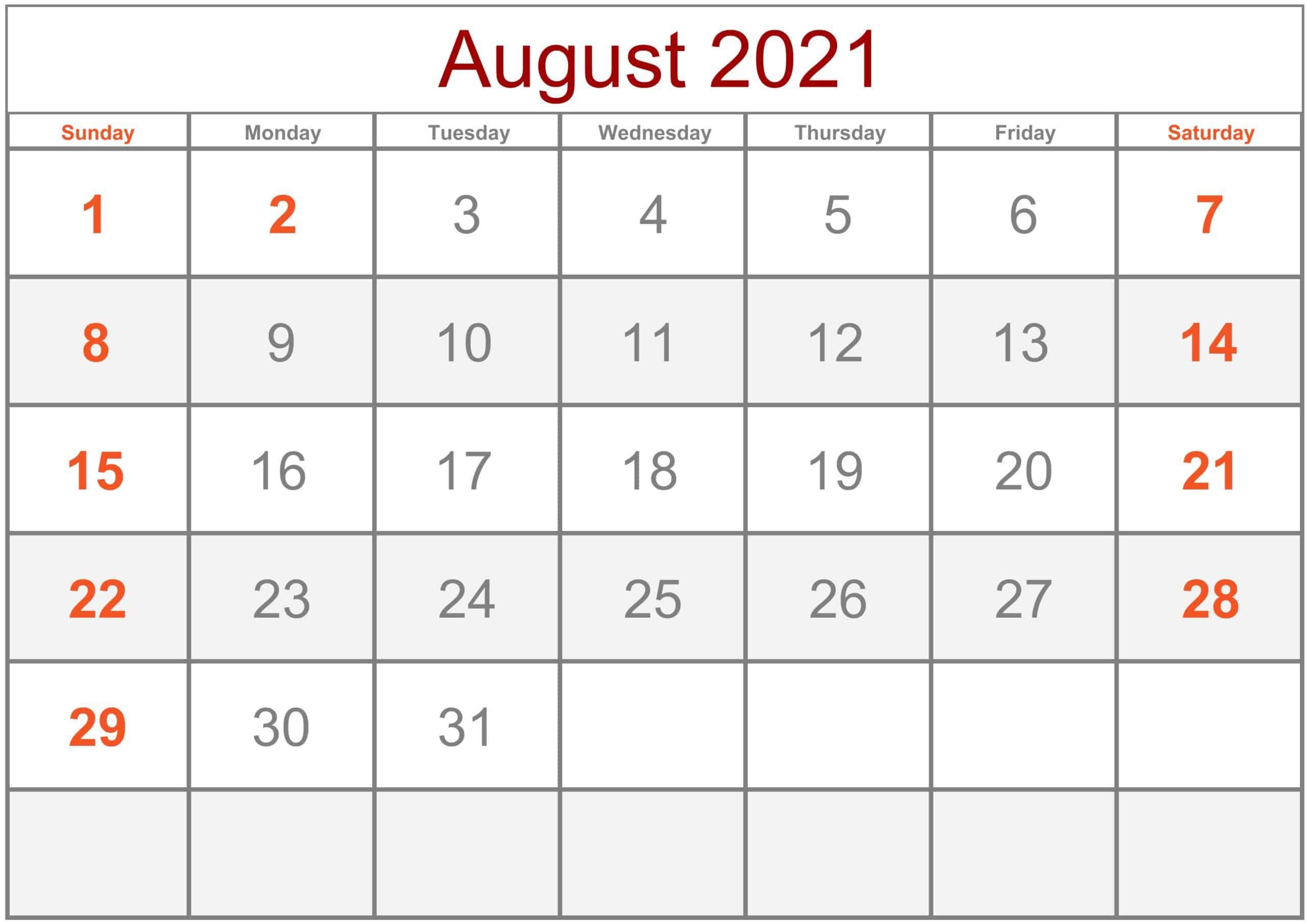 Calendar August 2021 Excel