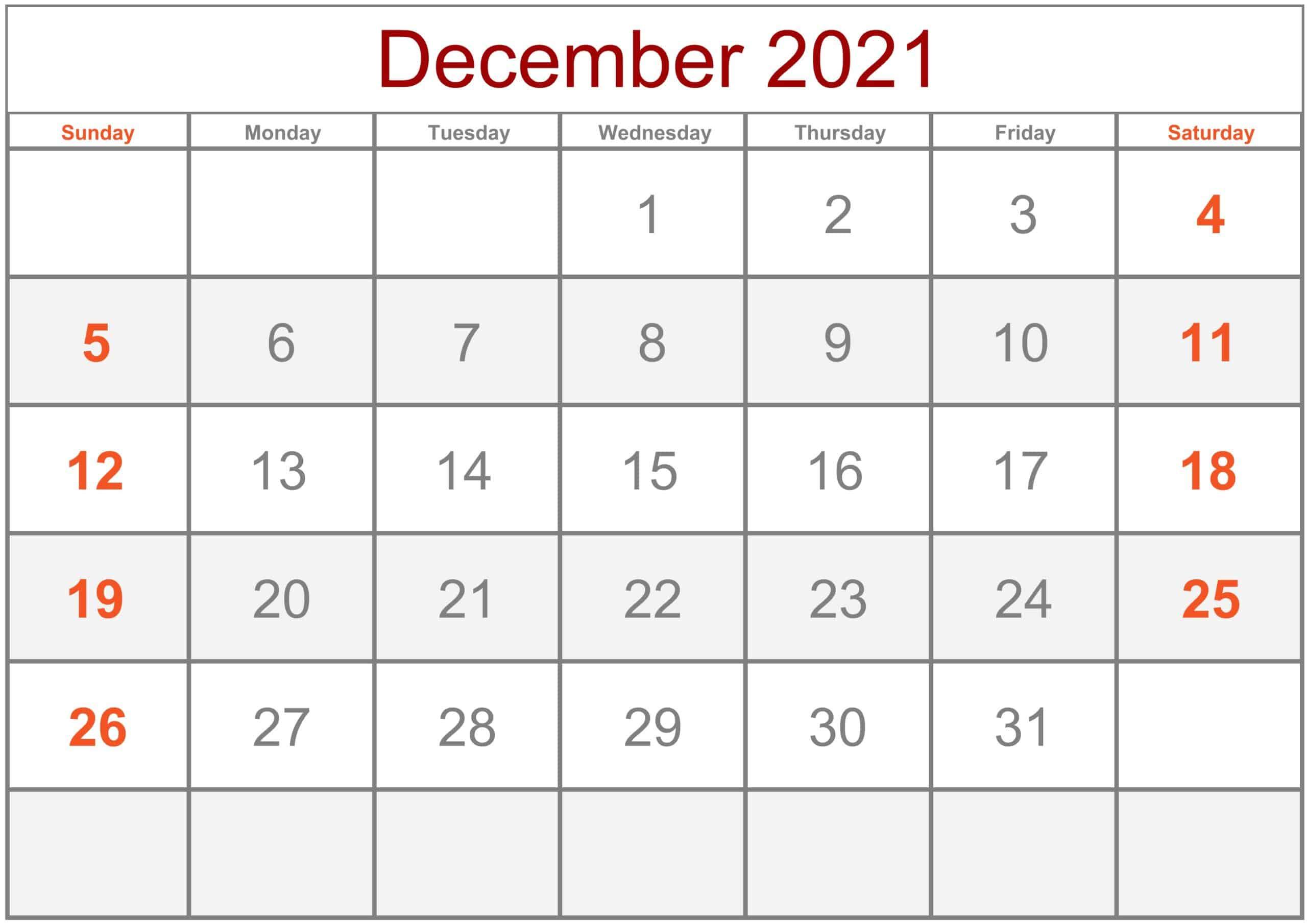 Calendar December 2021 Excel