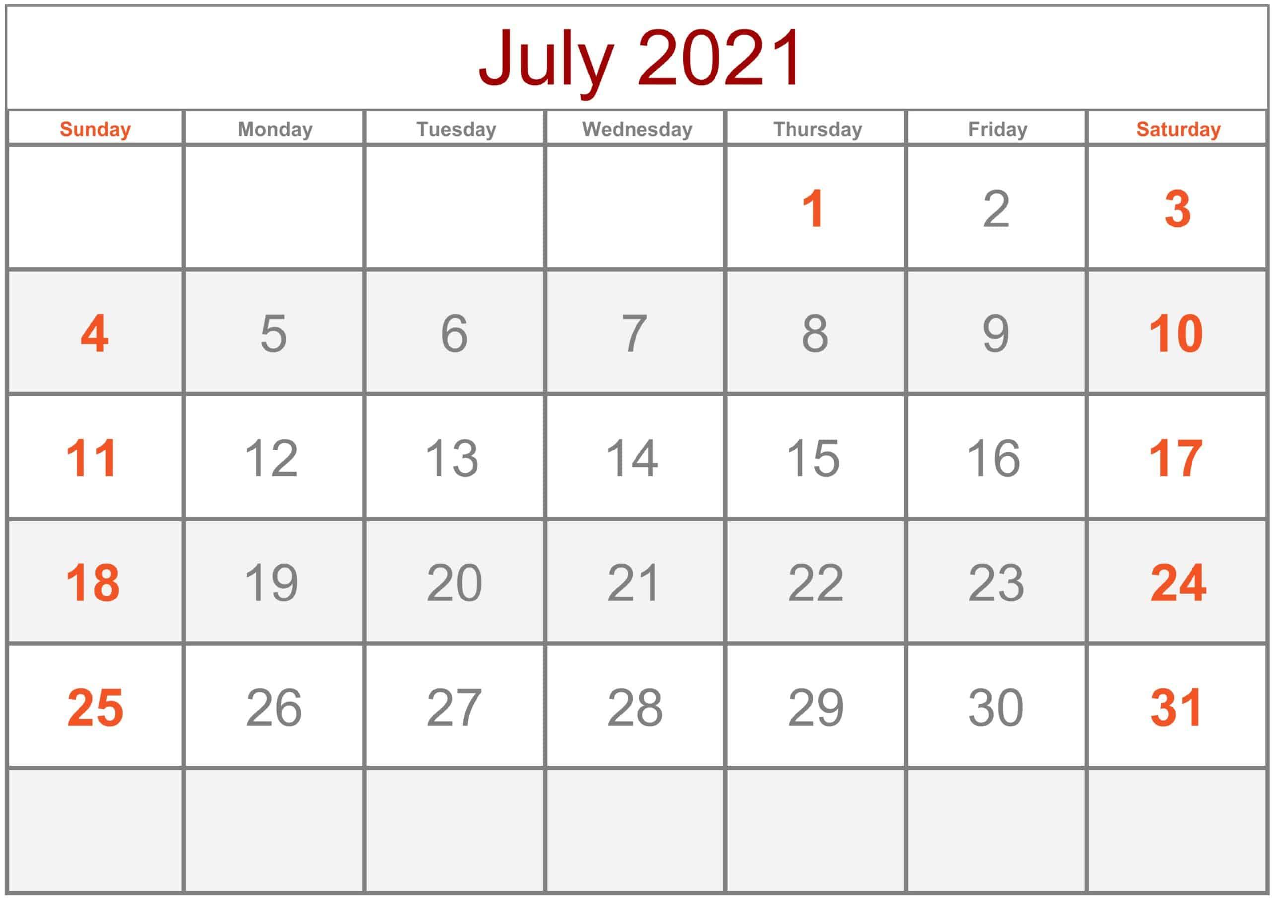 Calendar July 2021 Excel
