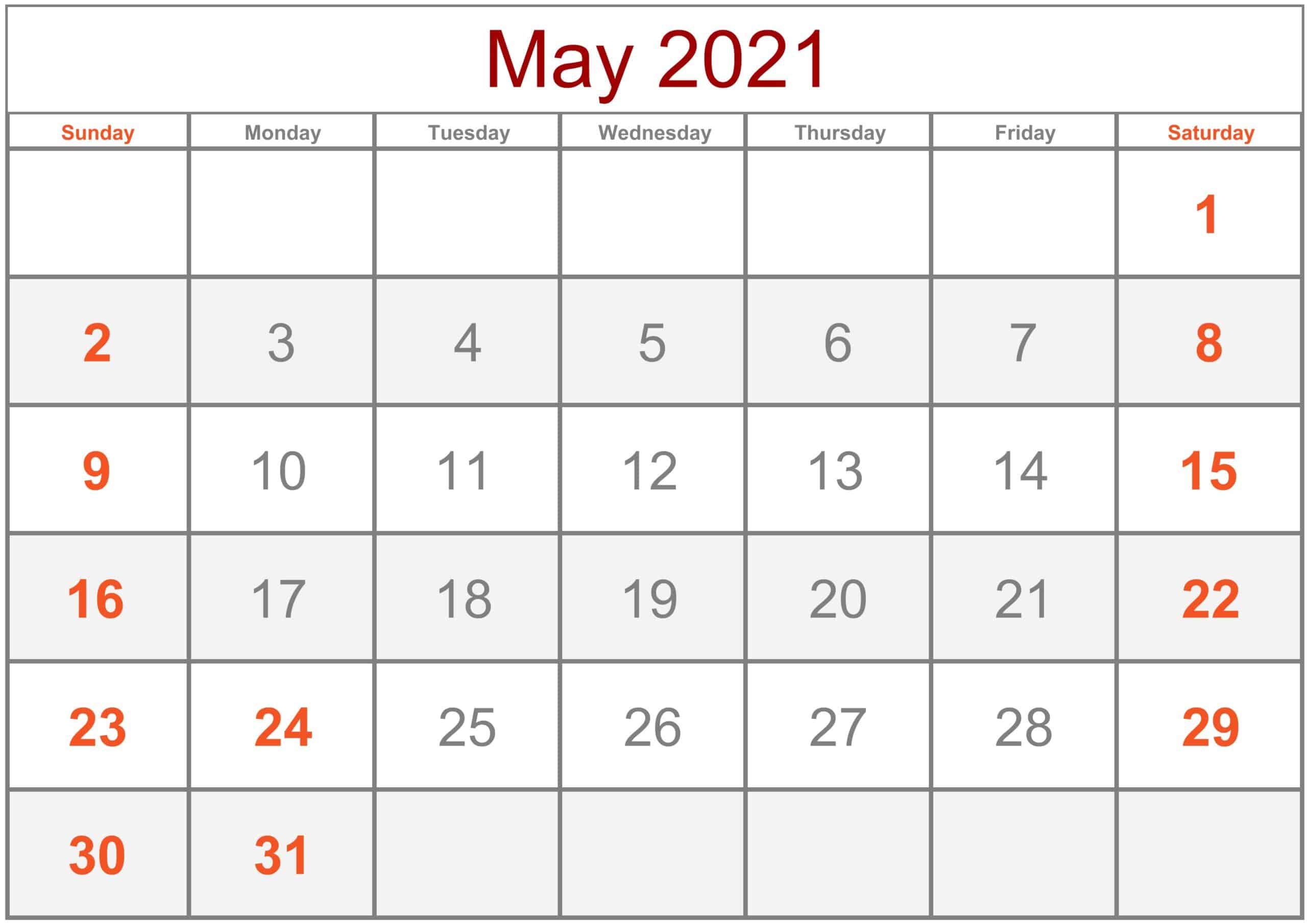 Calendar May 2021 Excel