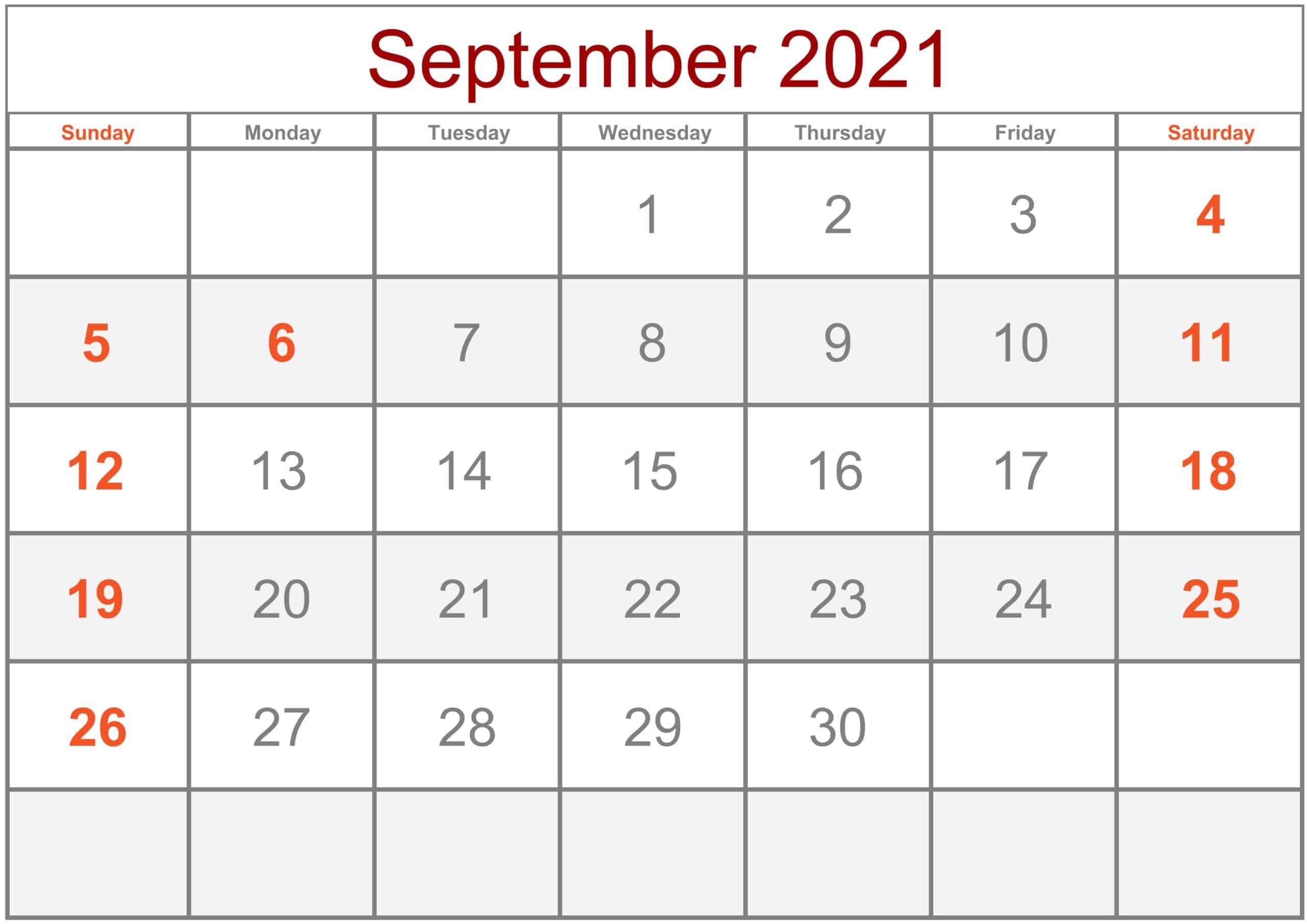Calendar September 2021 Excel