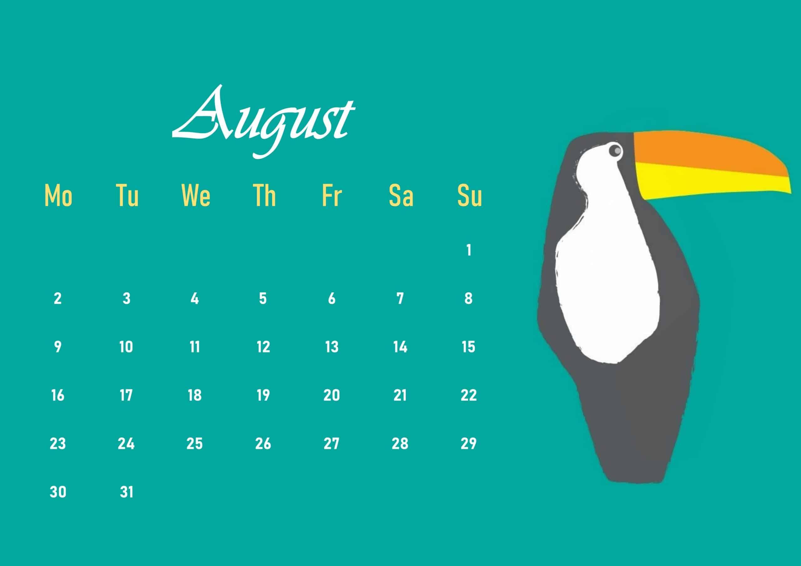 Cute 2021 August Calendar