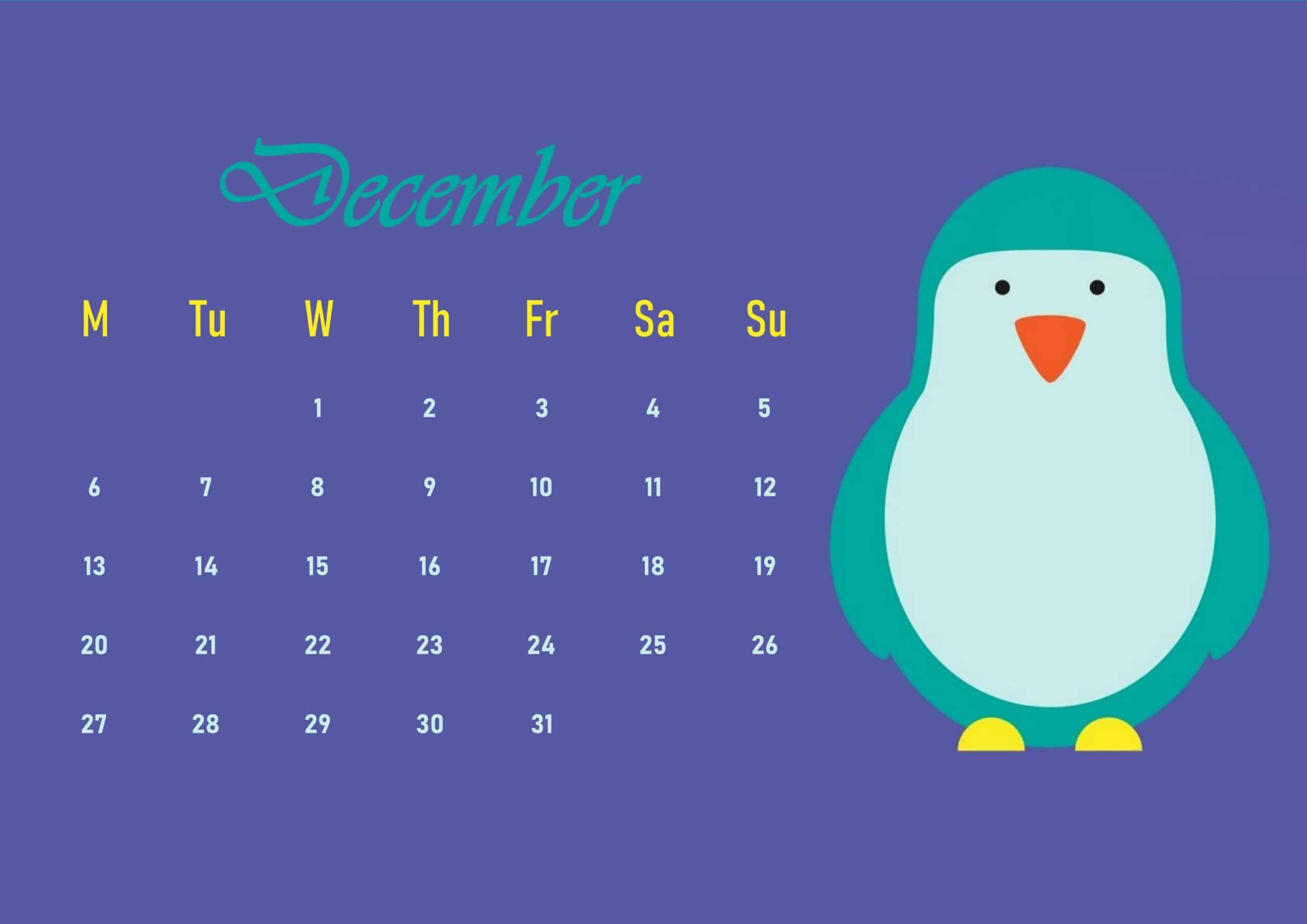 Cute 2021 December Calendar