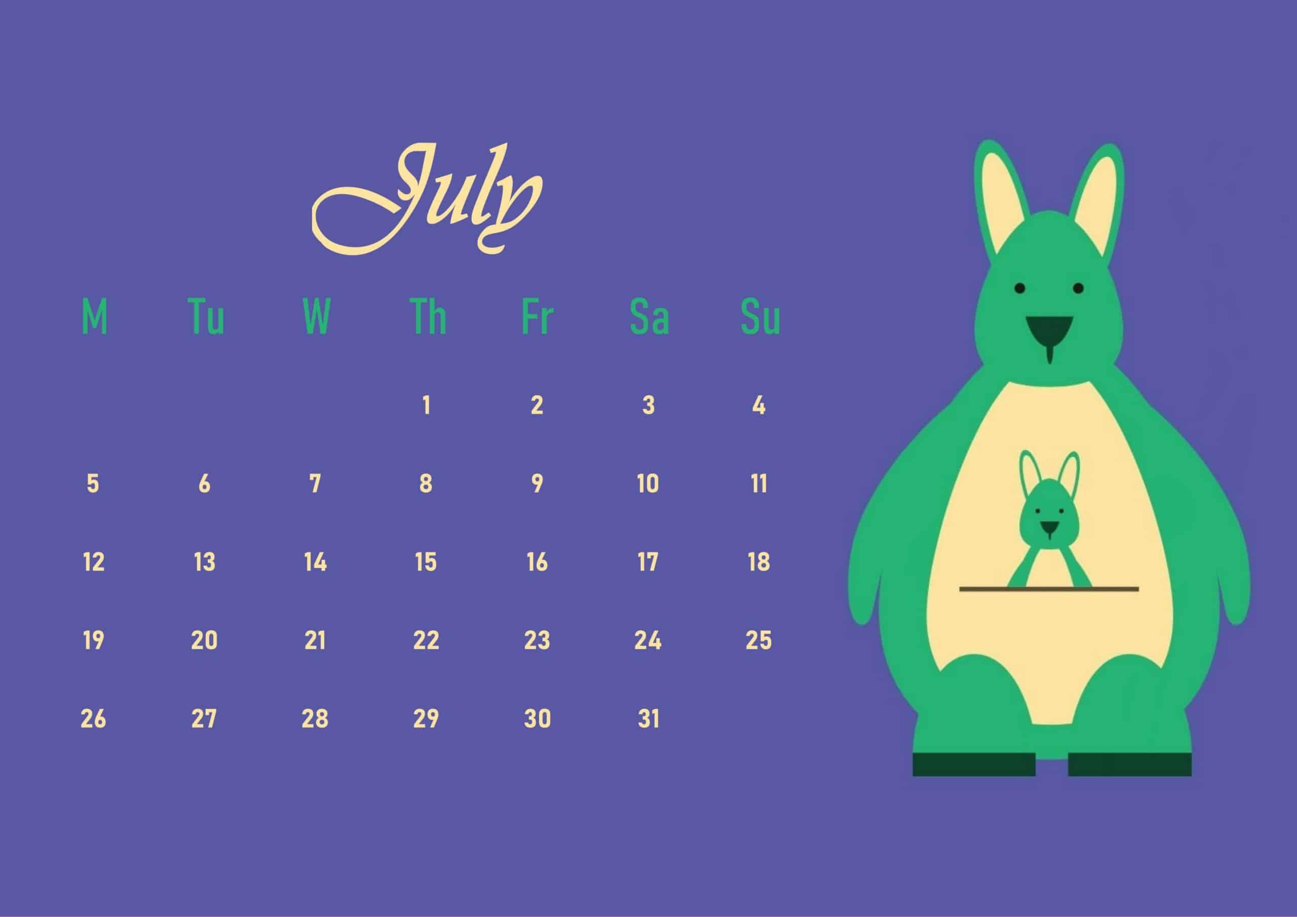 Cute 2021 July Calendar