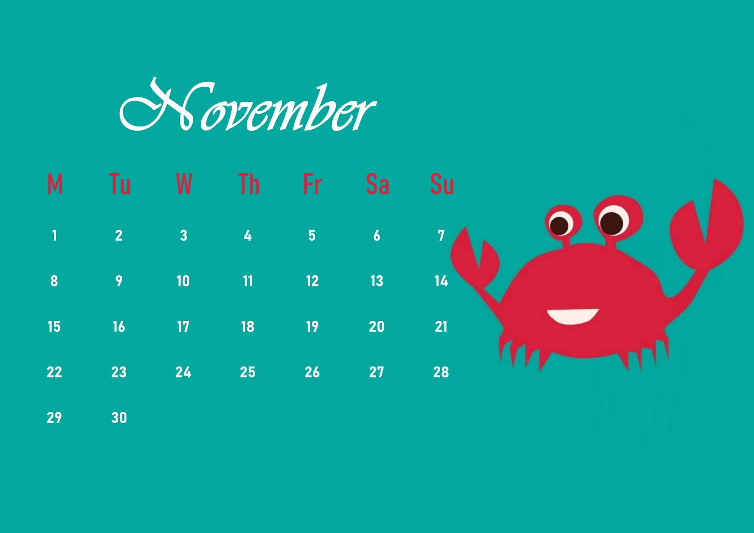 Cute 2021 November Calendar