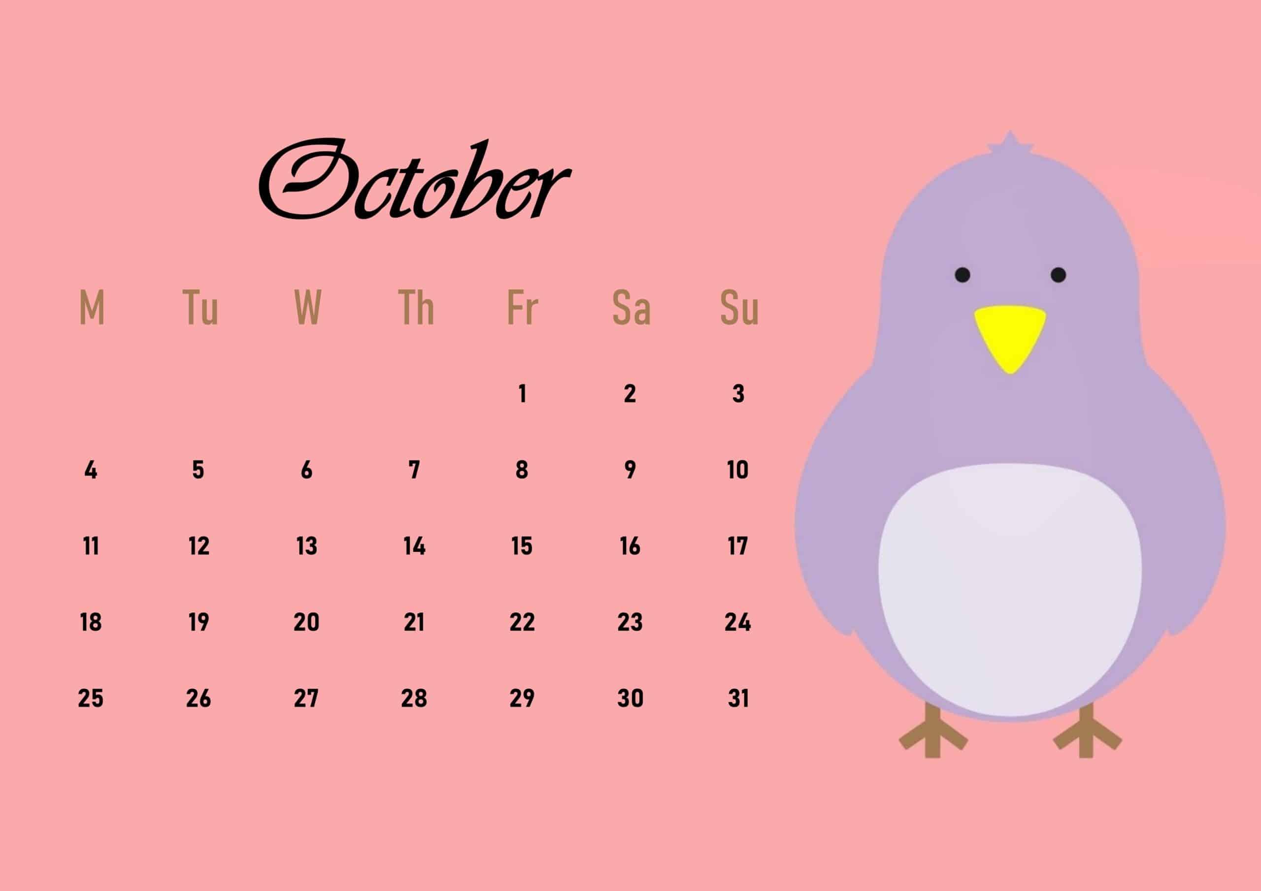 Cute 2021 October Calendar
