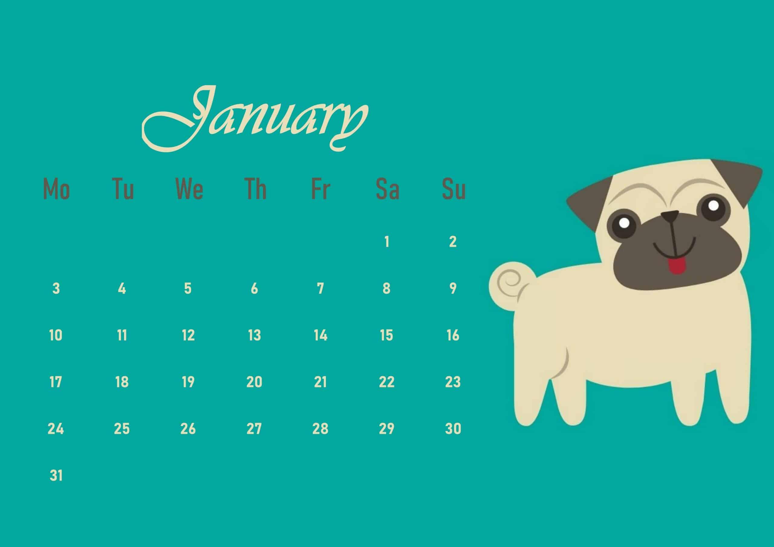 Cute 2022 January Calendar