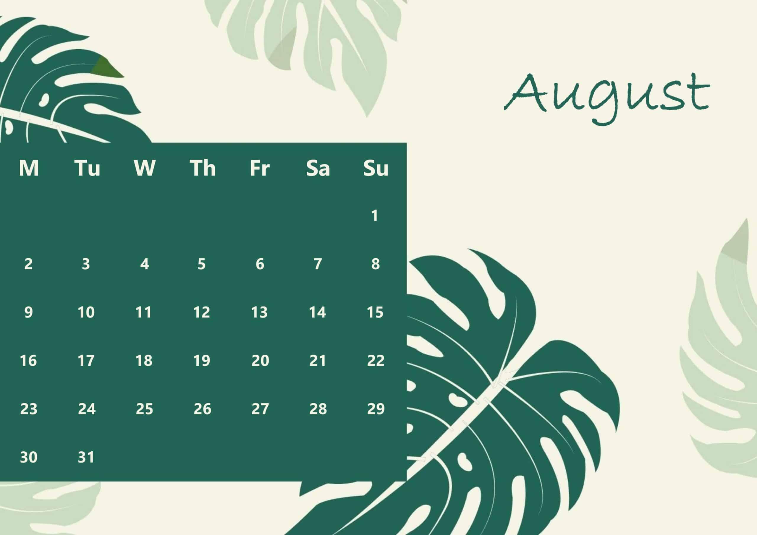 Cute August 2021 Calendar ForMAT