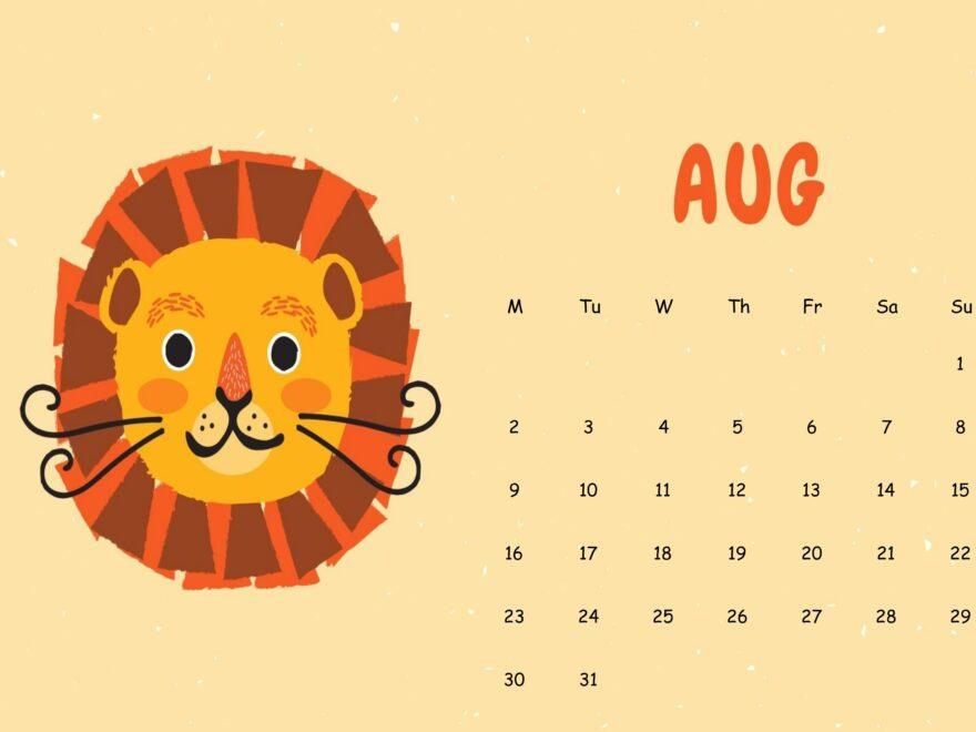 Cute August 2021 Calendar Sheet