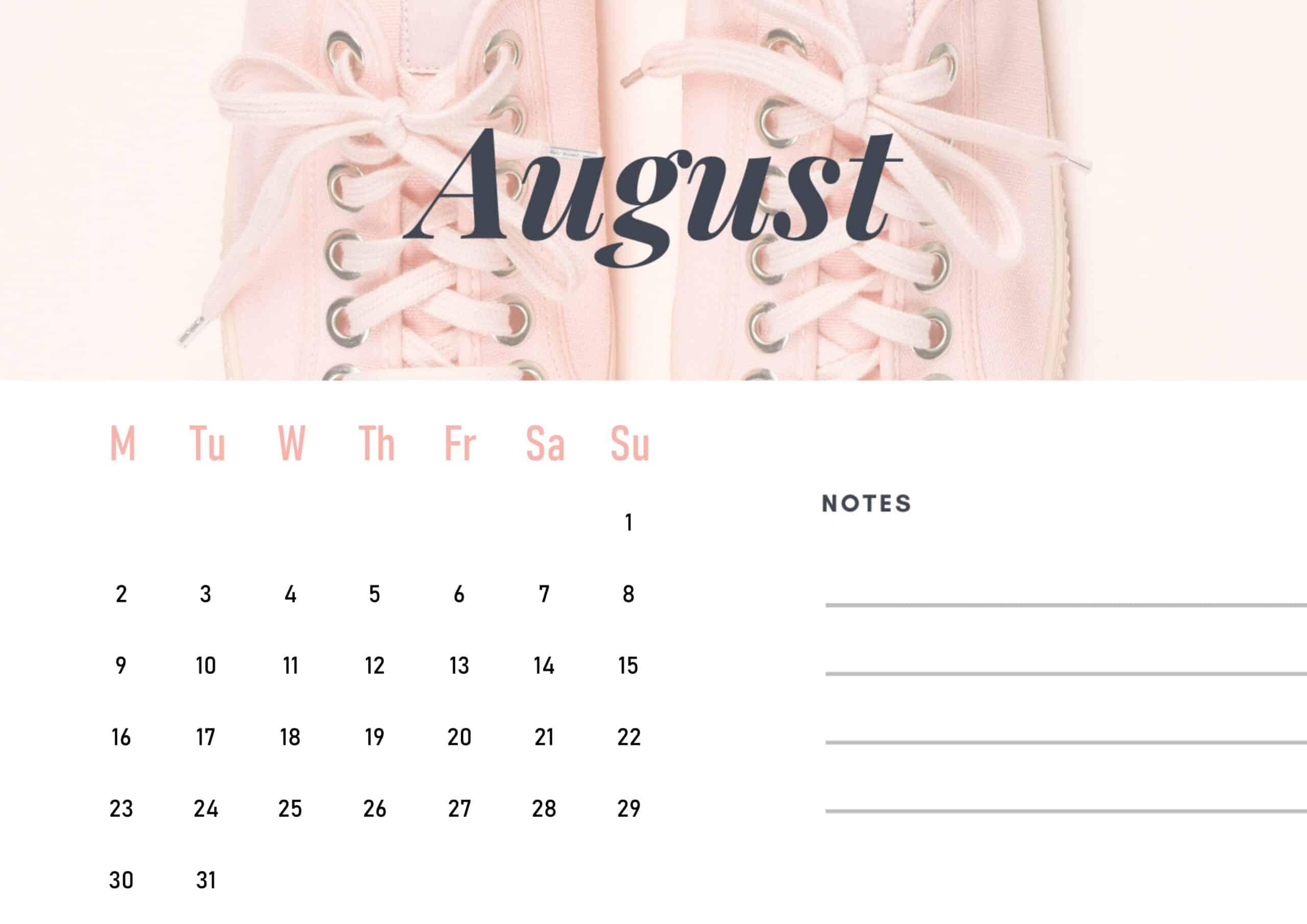 Cute August 2021 Calendar Wallpaper download