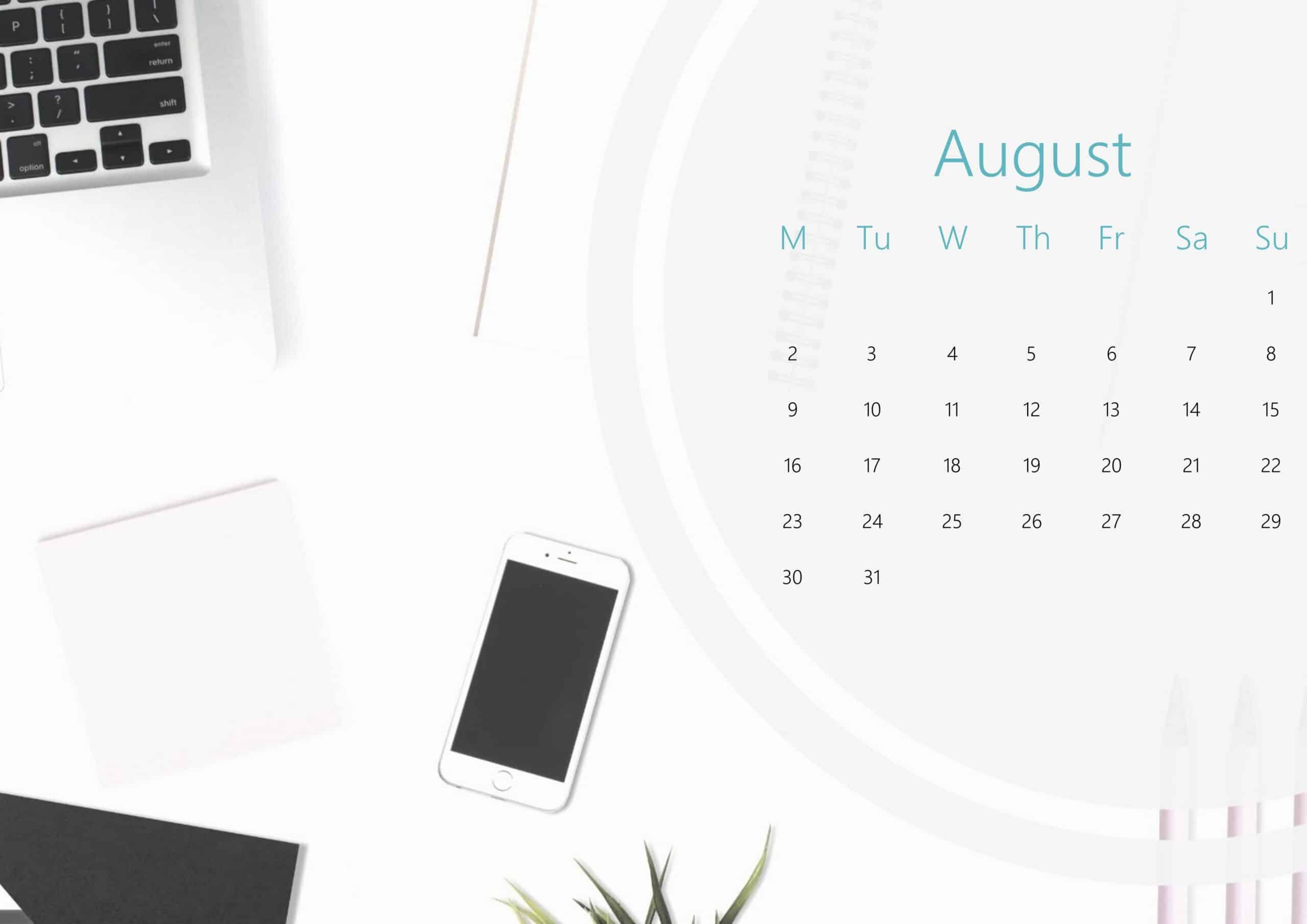 Cute August Calendar 2021