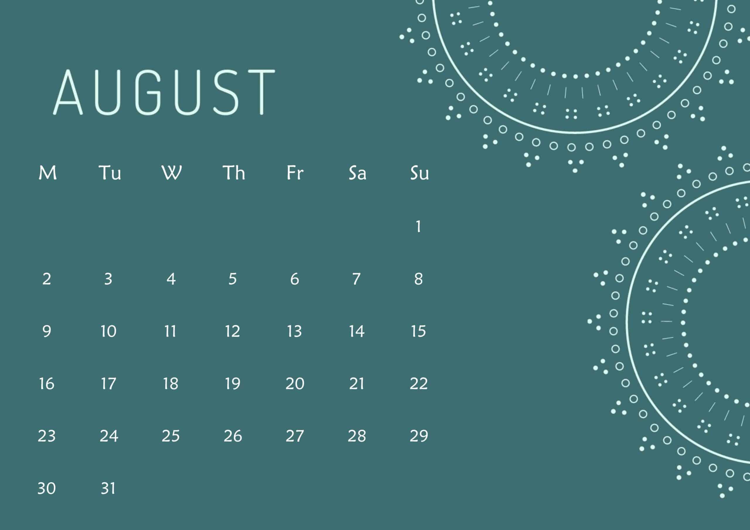 Cute Calendar August 2021 Page