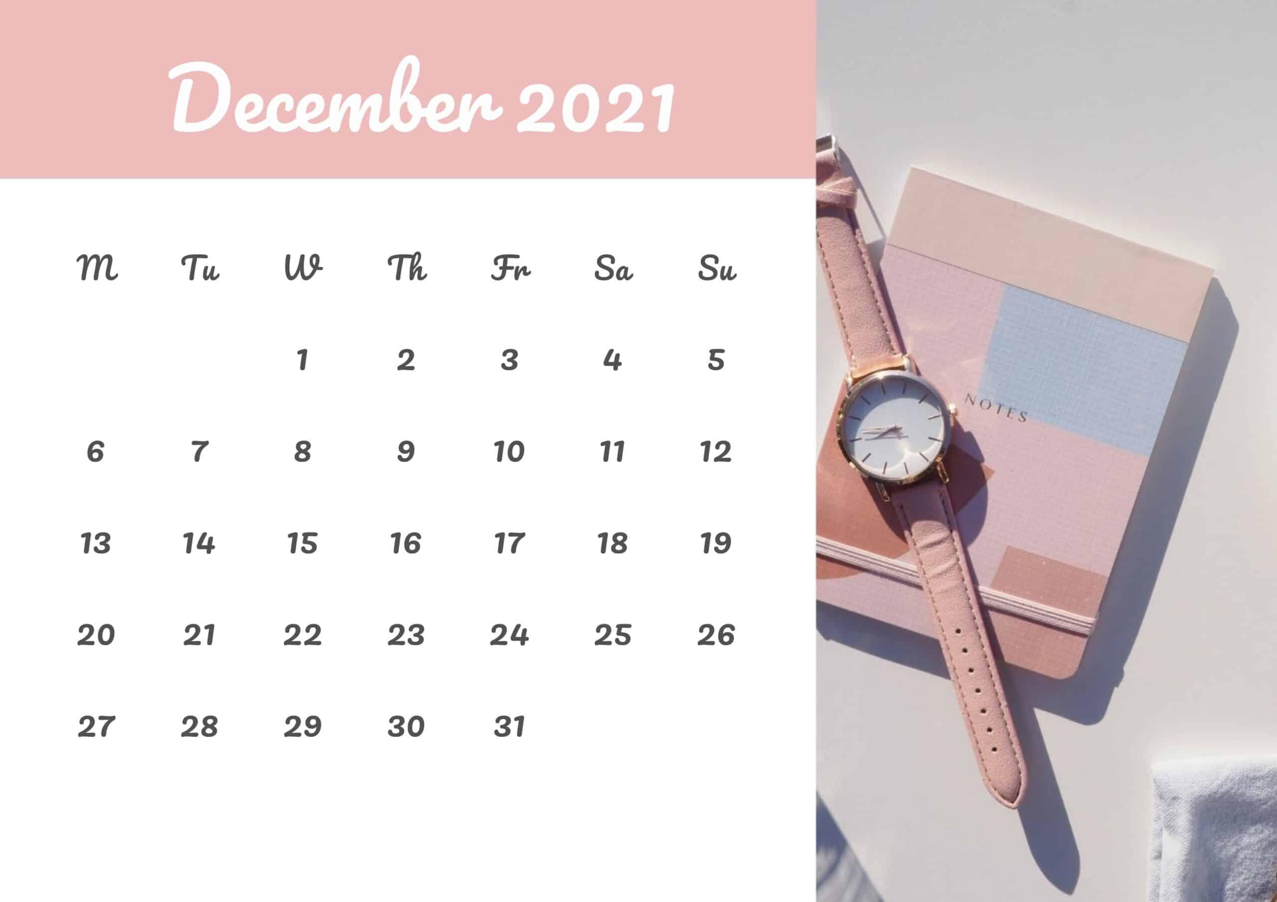 Cute Calendar December 2021 Free