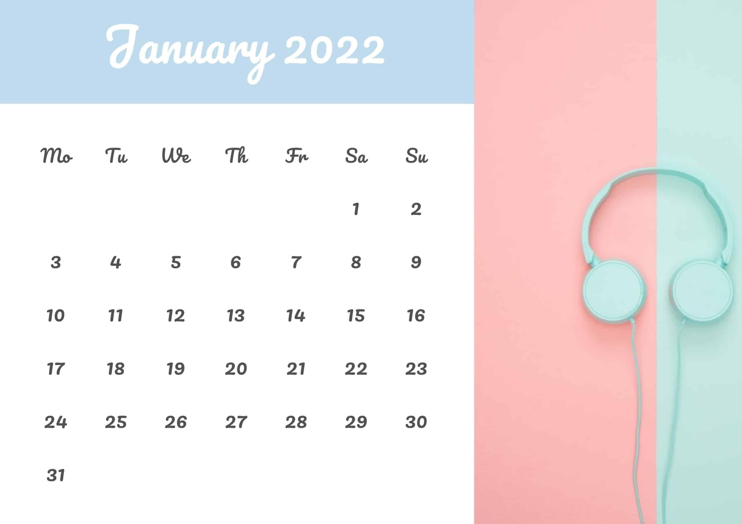 Cute Calendar January 2022 Free