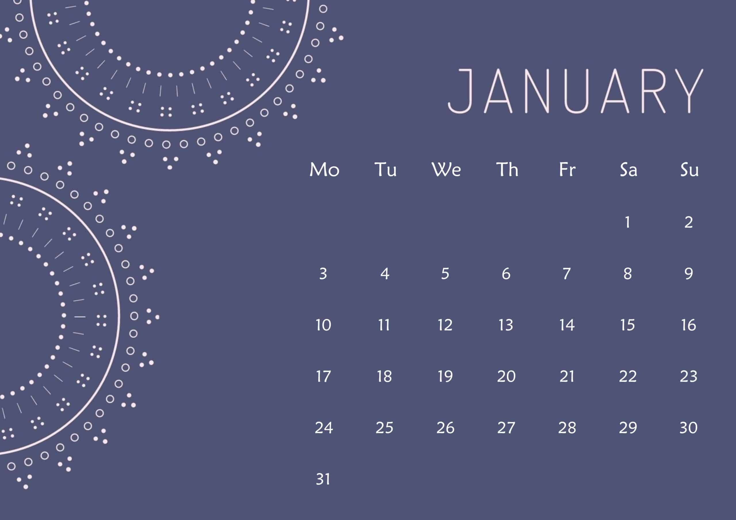 Cute Calendar January 2022 Page