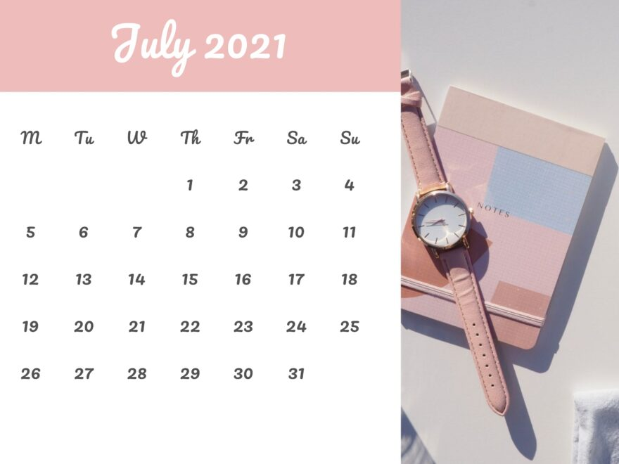 Cute Calendar July 2021 Free