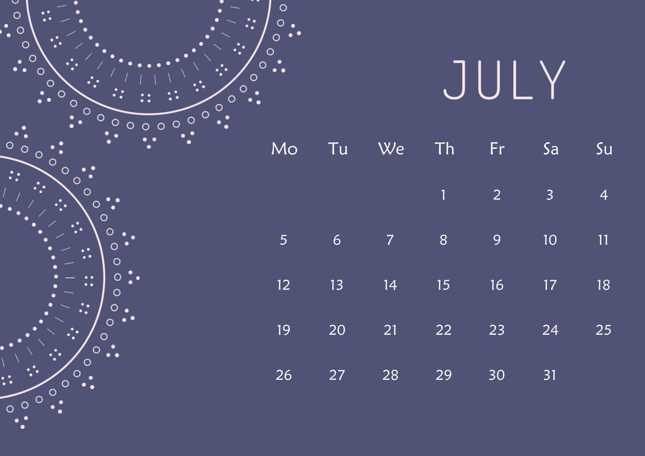 Cute Calendar July 2021 Page