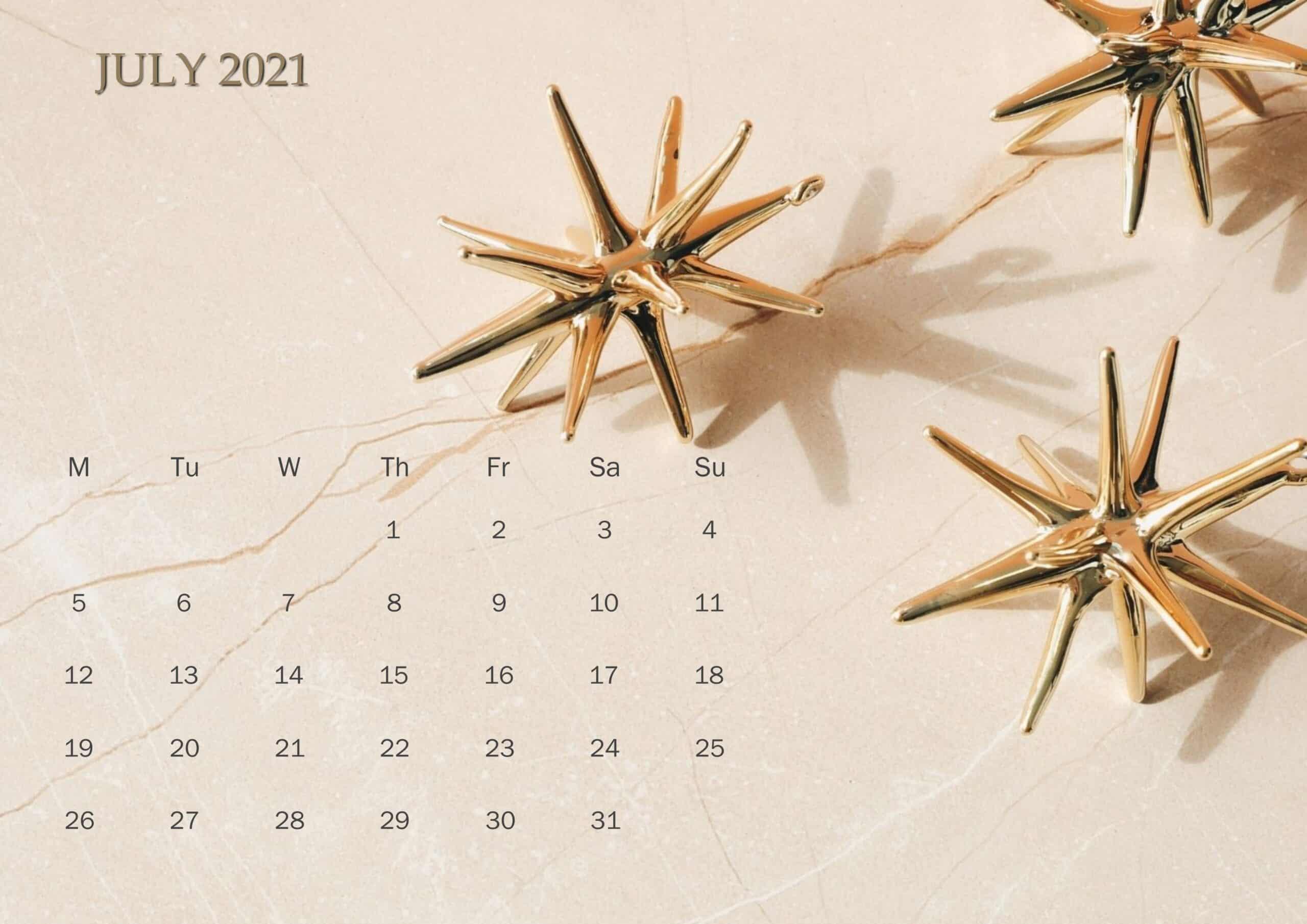 Cute Calendar July 2021