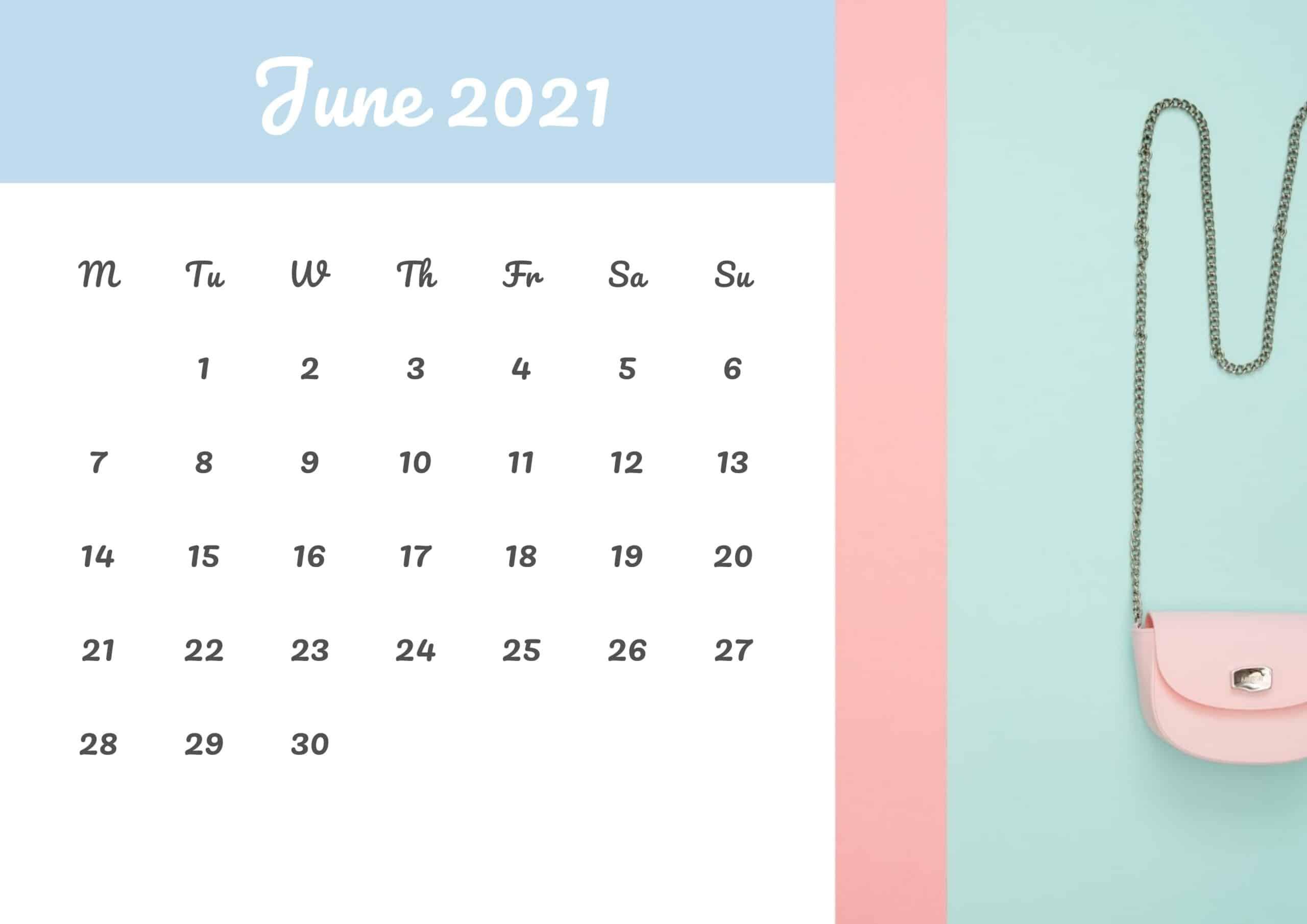 Cute Calendar June 2021 Free
