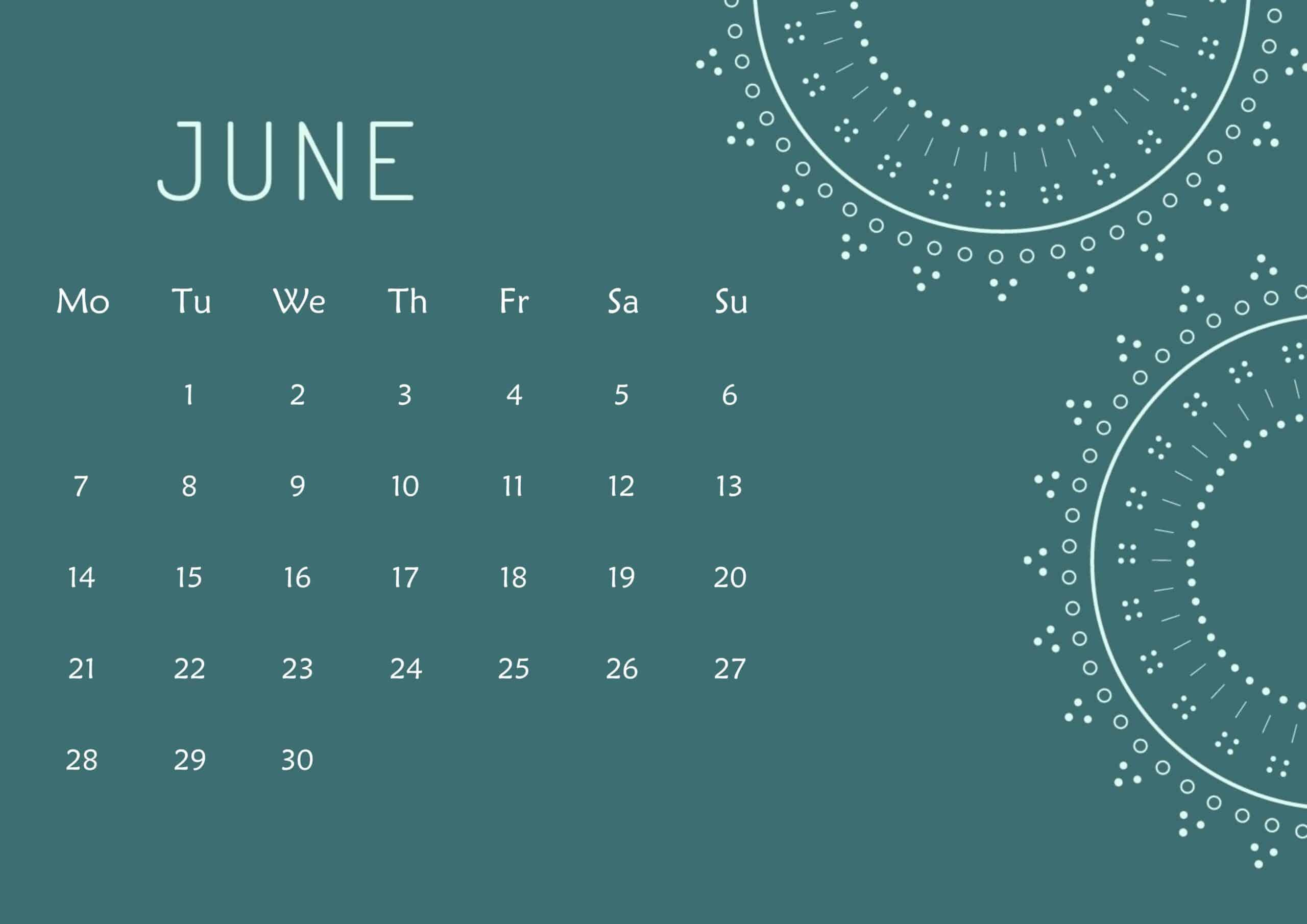 Cute Calendar June 2021 Page