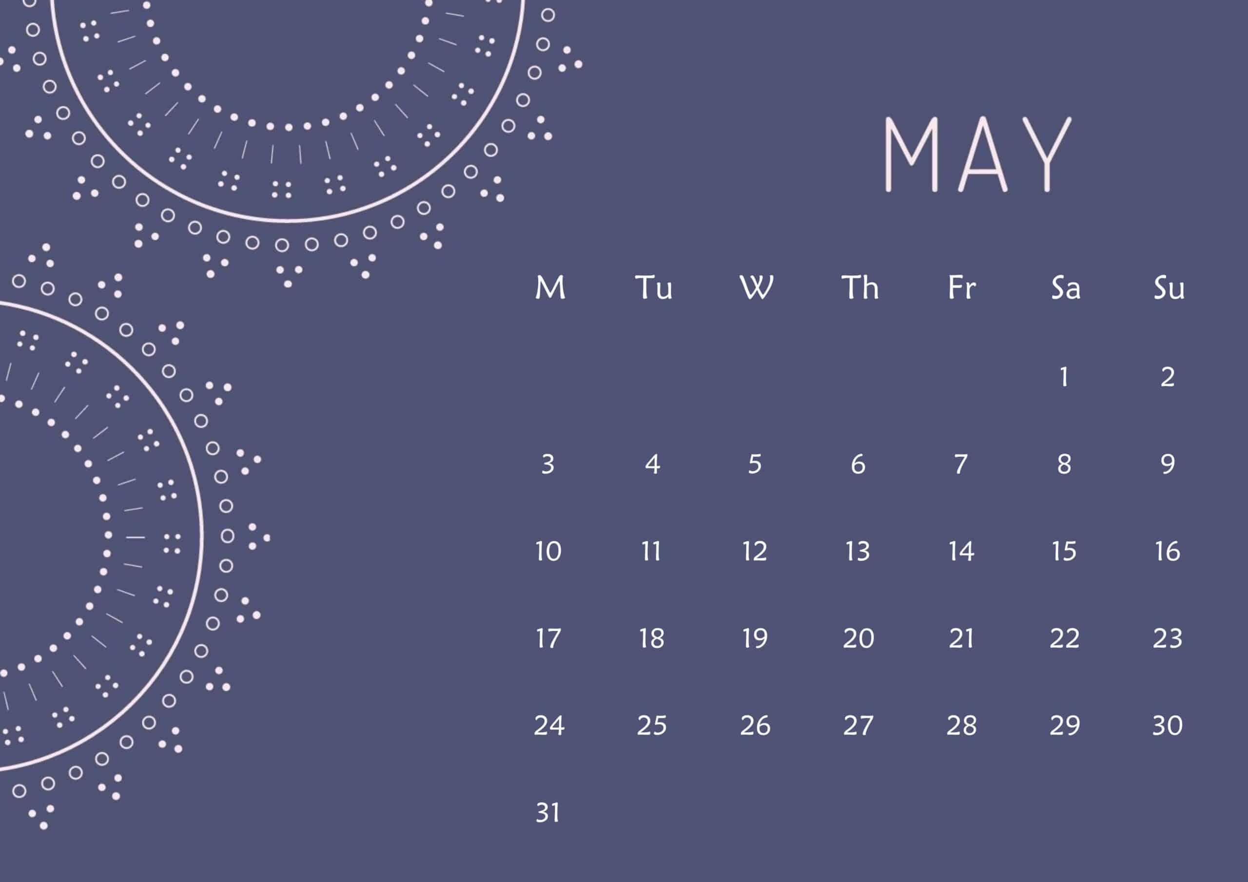 Cute Calendar May 2021 Page