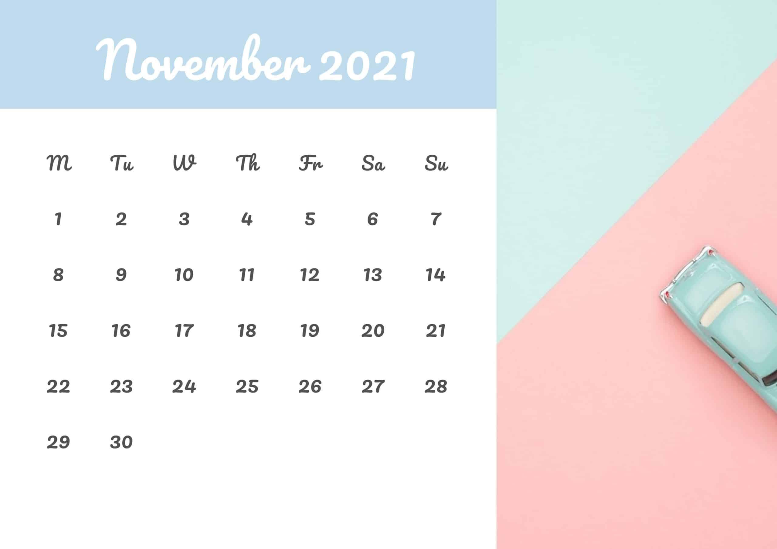 Cute Calendar November 2021 Free
