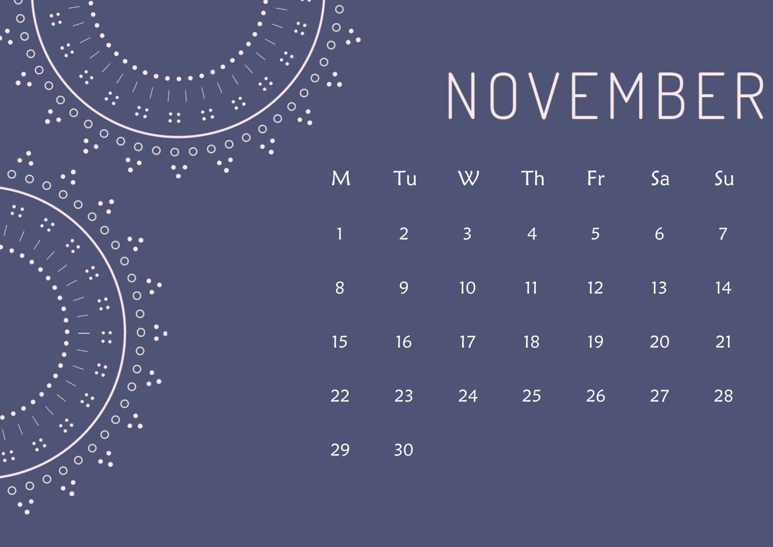 Cute Calendar November 2021 Page