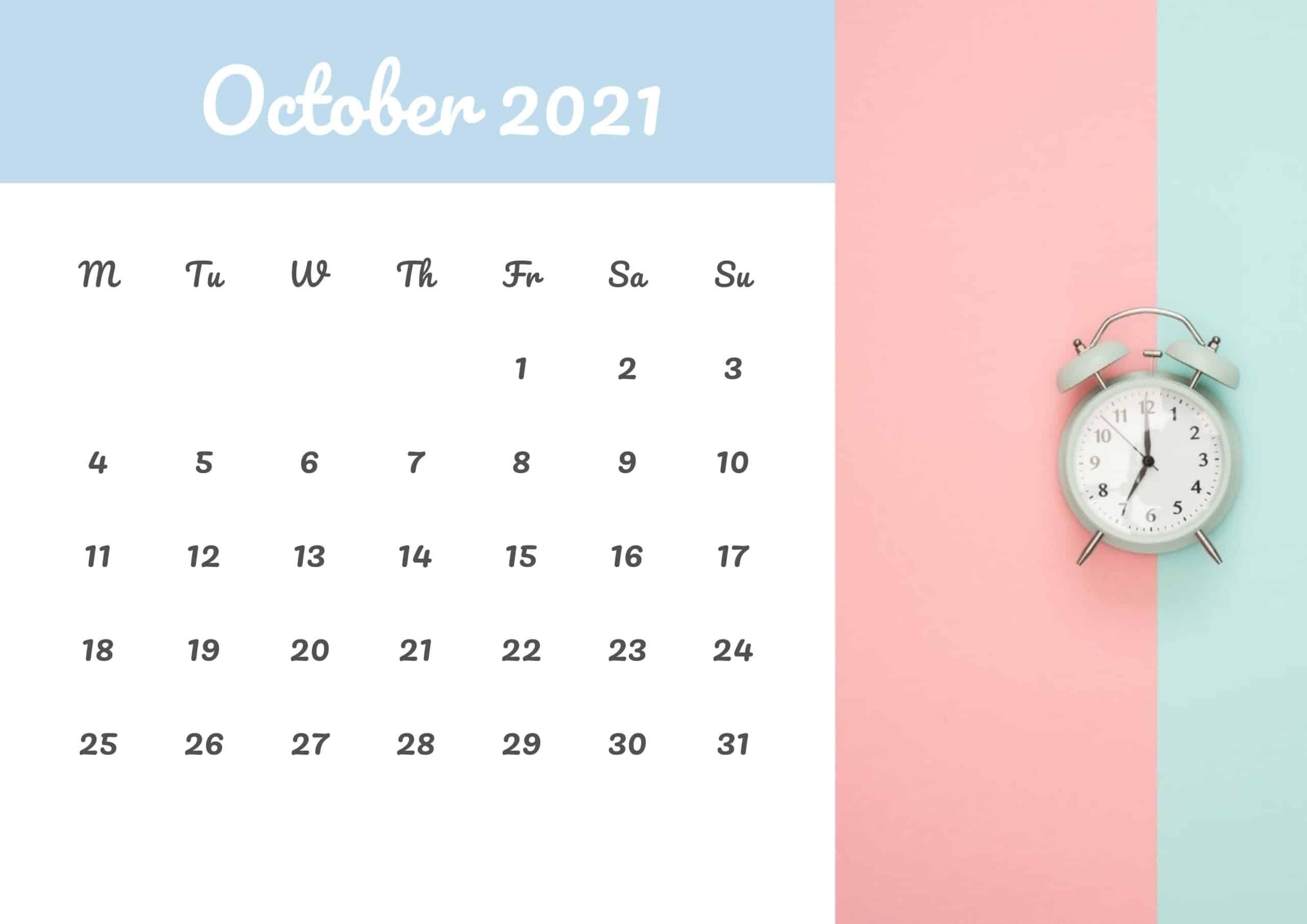 Cute Calendar October 2021 Free