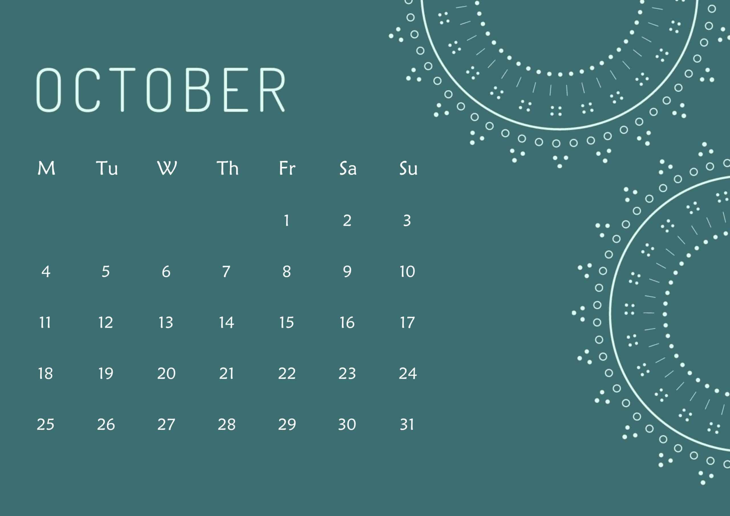Cute Calendar October 2021 Page
